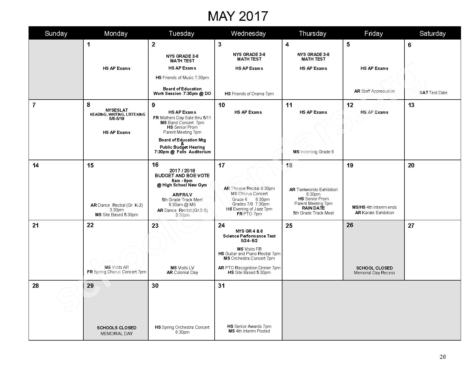 2016 - 2017 District Calendar – Mahopac Falls Elementary School – page 21