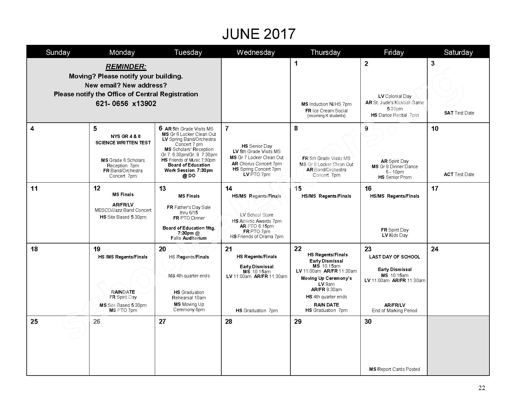 2016 - 2017 District Calendar – Mahopac Falls Elementary School – page 23
