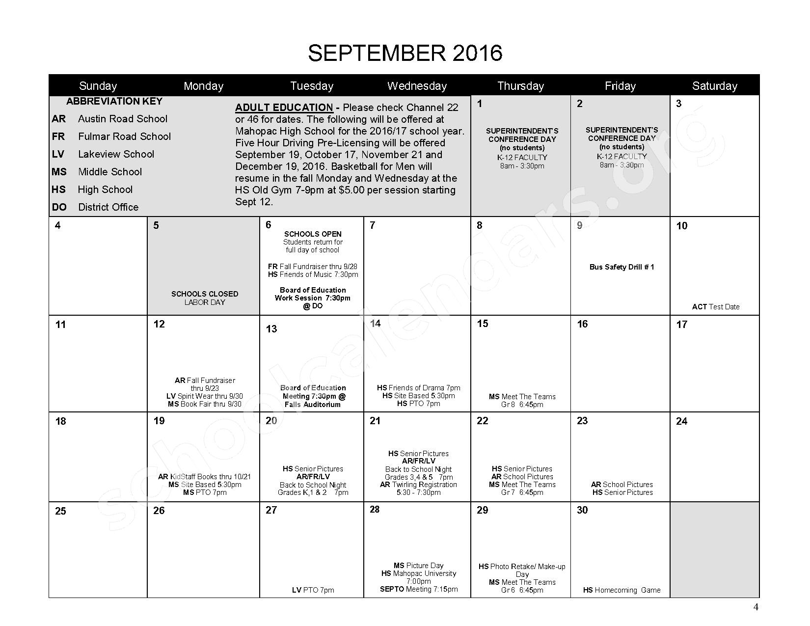 2016 - 2017 District Calendar – Mahopac Falls Elementary School – page 5