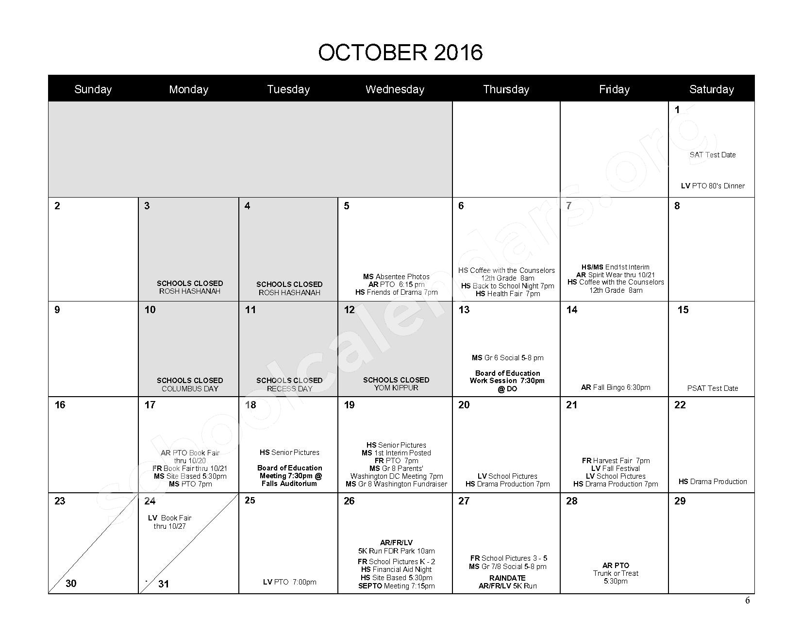 2016 - 2017 District Calendar – Mahopac Falls Elementary School – page 7