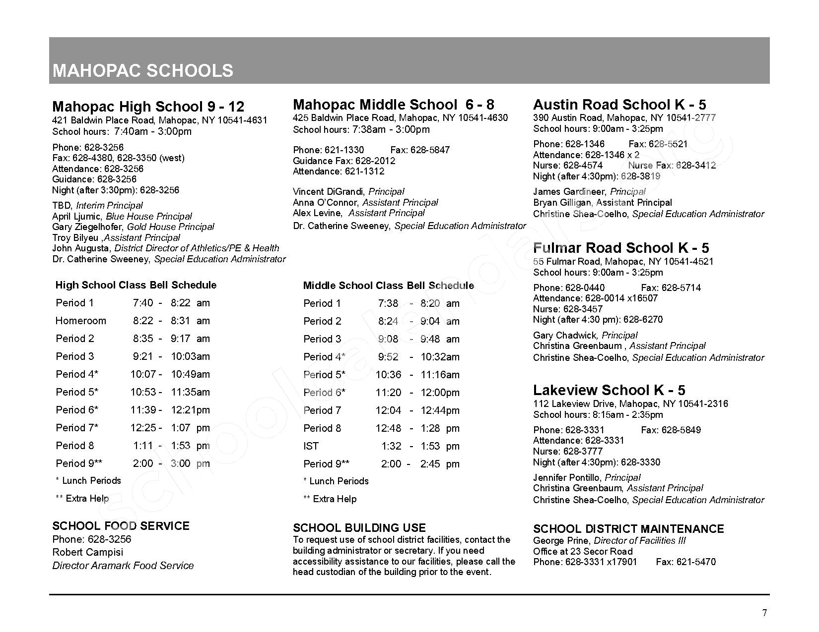 2016 - 2017 District Calendar – Mahopac Falls Elementary School – page 8