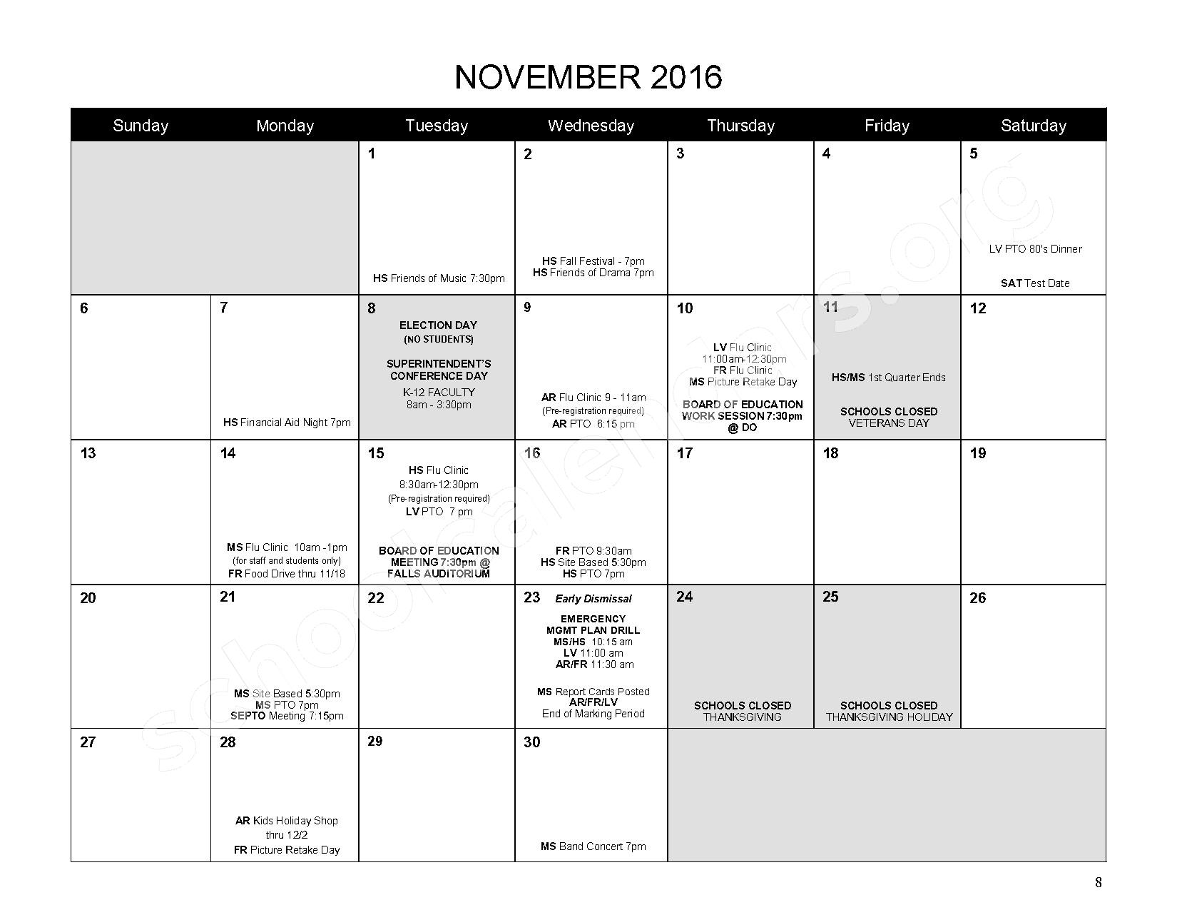 2016 - 2017 District Calendar – Mahopac Falls Elementary School – page 9