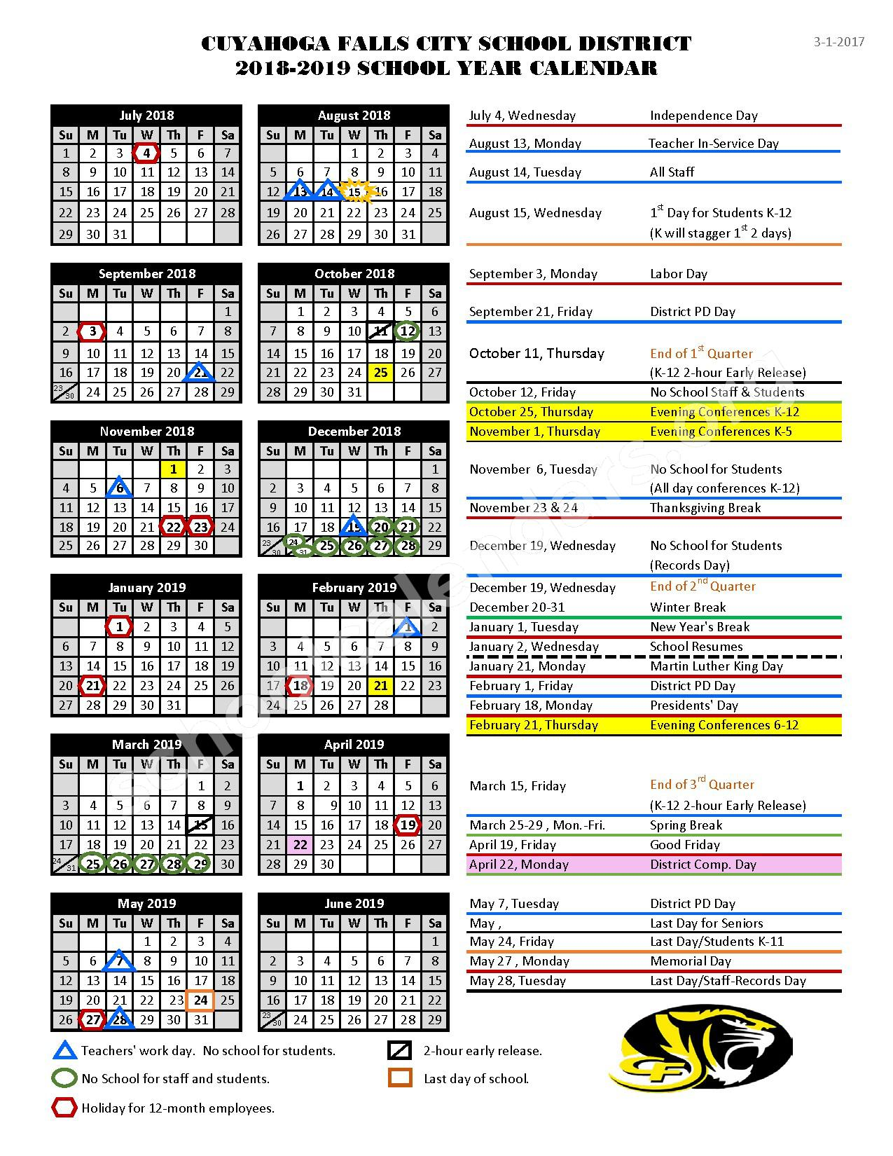 2017 - 2018 Academic Calendar – Cuyahoga Falls City School District – page 3
