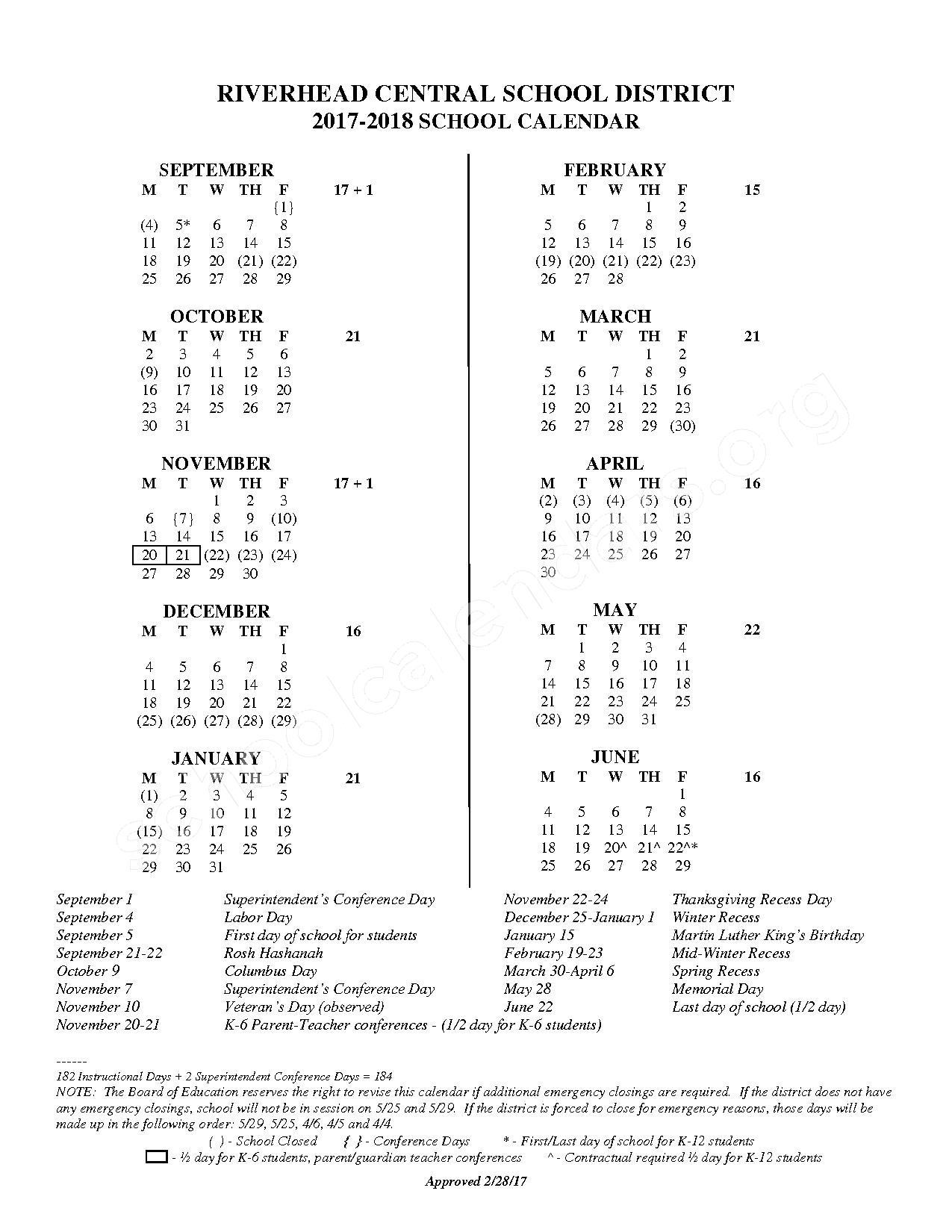 2017 - 2018 District Calendar – Riverhead Central School District – page 1