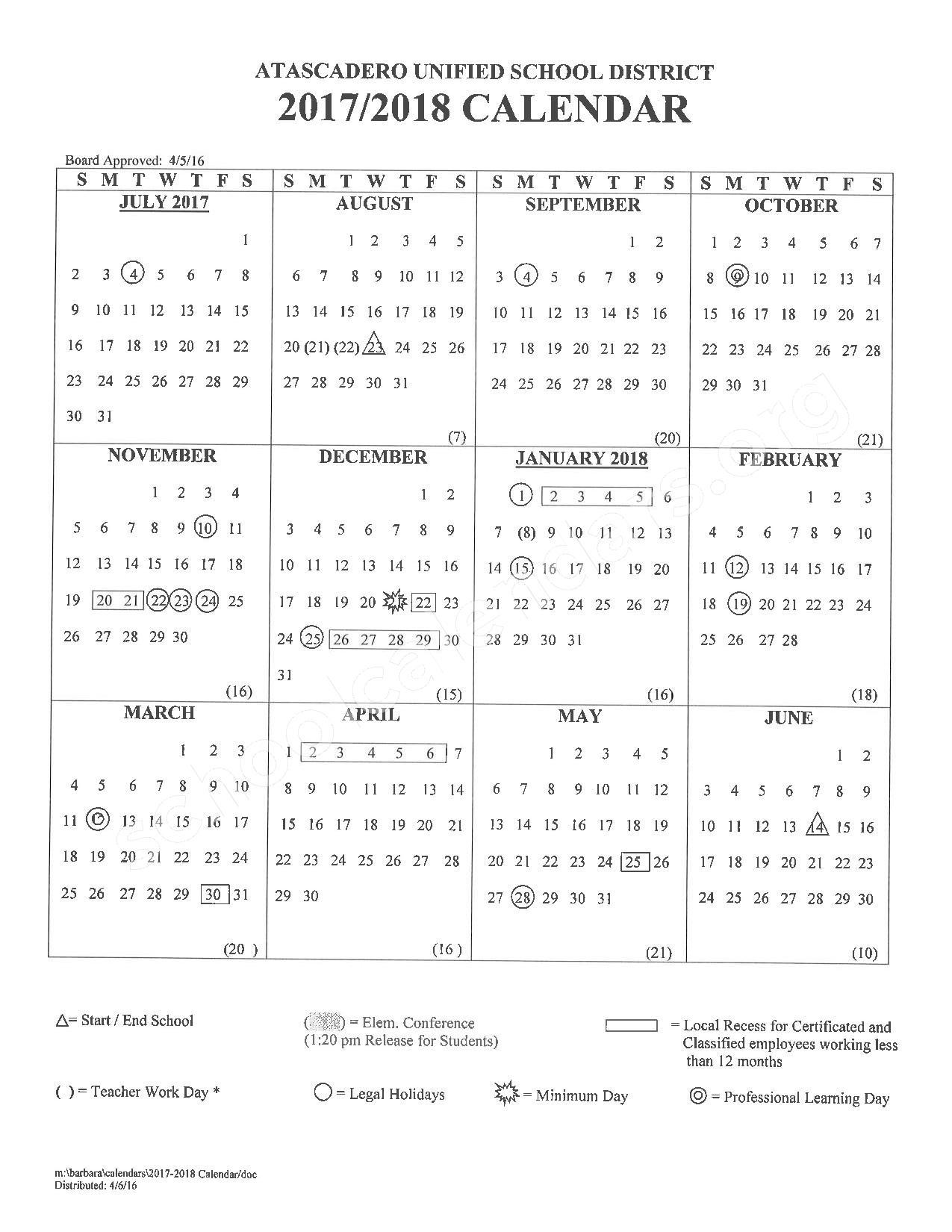 2017 - 2018 School Calendar – Atascadero Unified School District – page 1