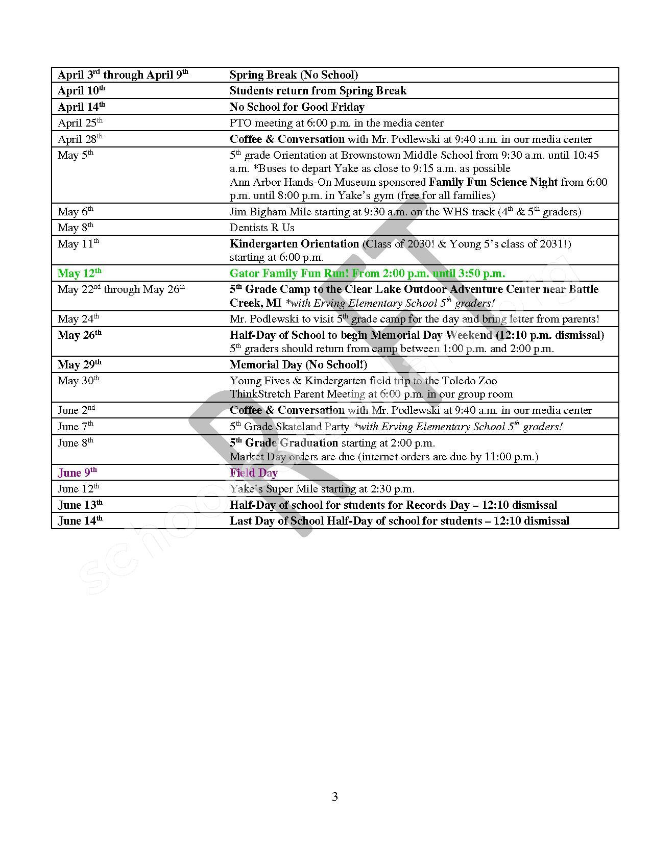 2016 - 2017 School Calendar – Bates Elementary School – page 3