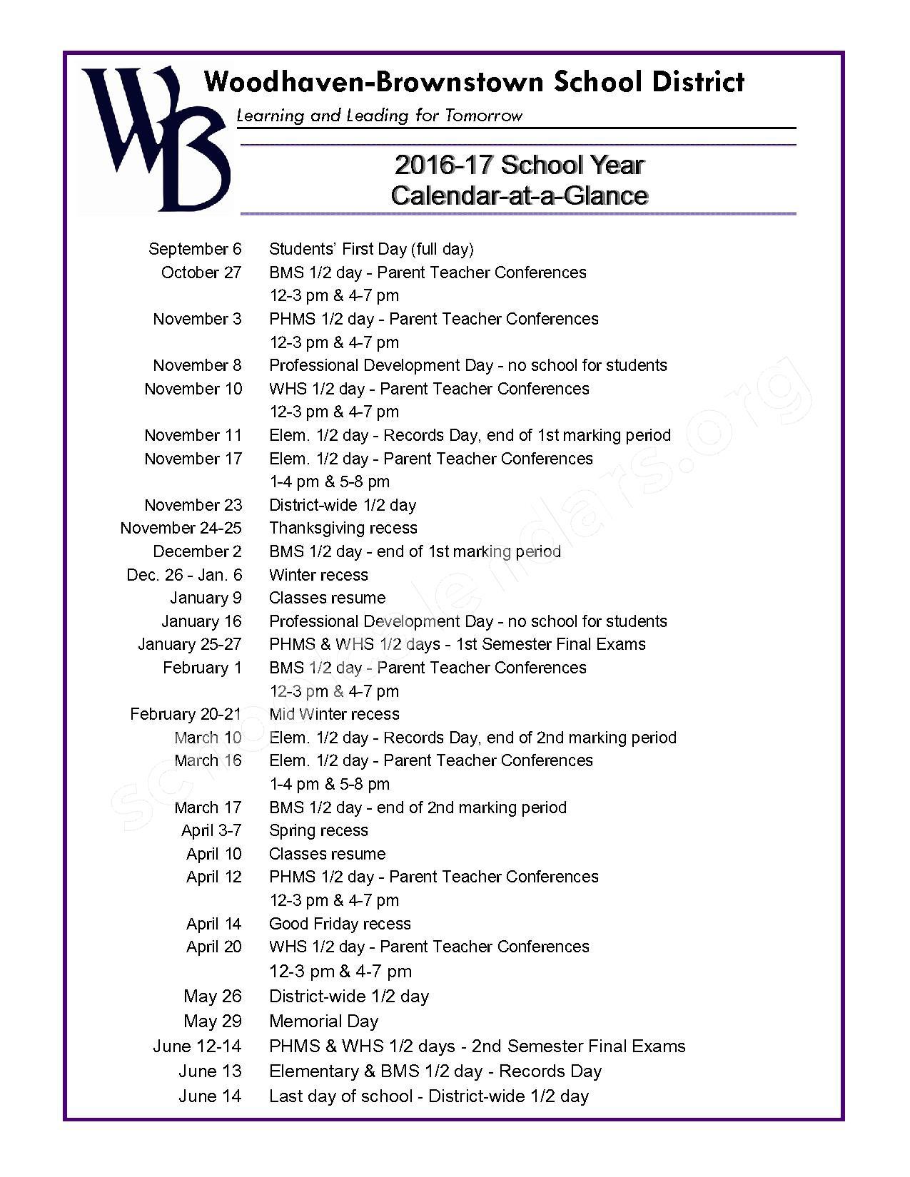 2016 - 2017 School Calendar – Bates Elementary School – page 1