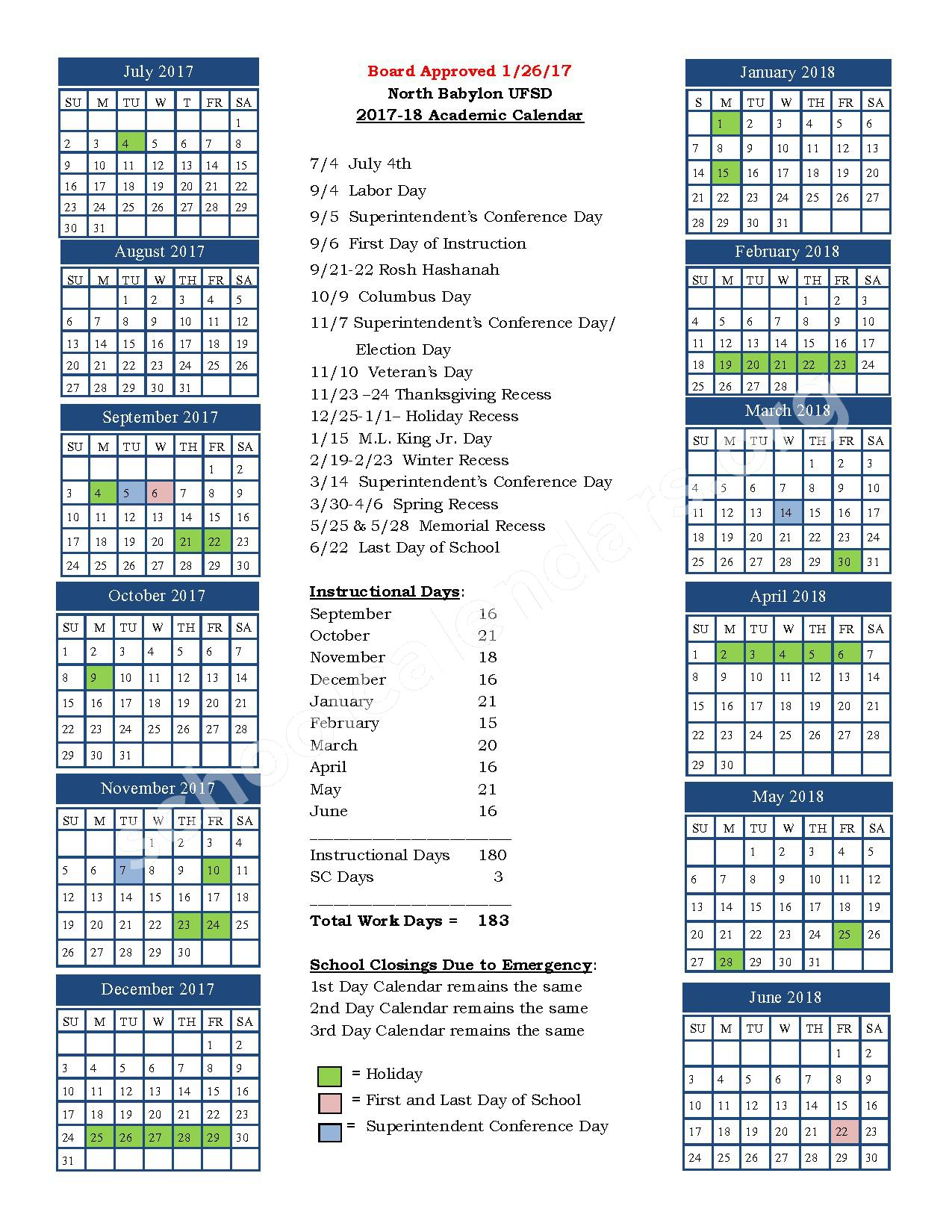 2017 - 2018 District Calendar – North Babylon Union Free School District – page 1