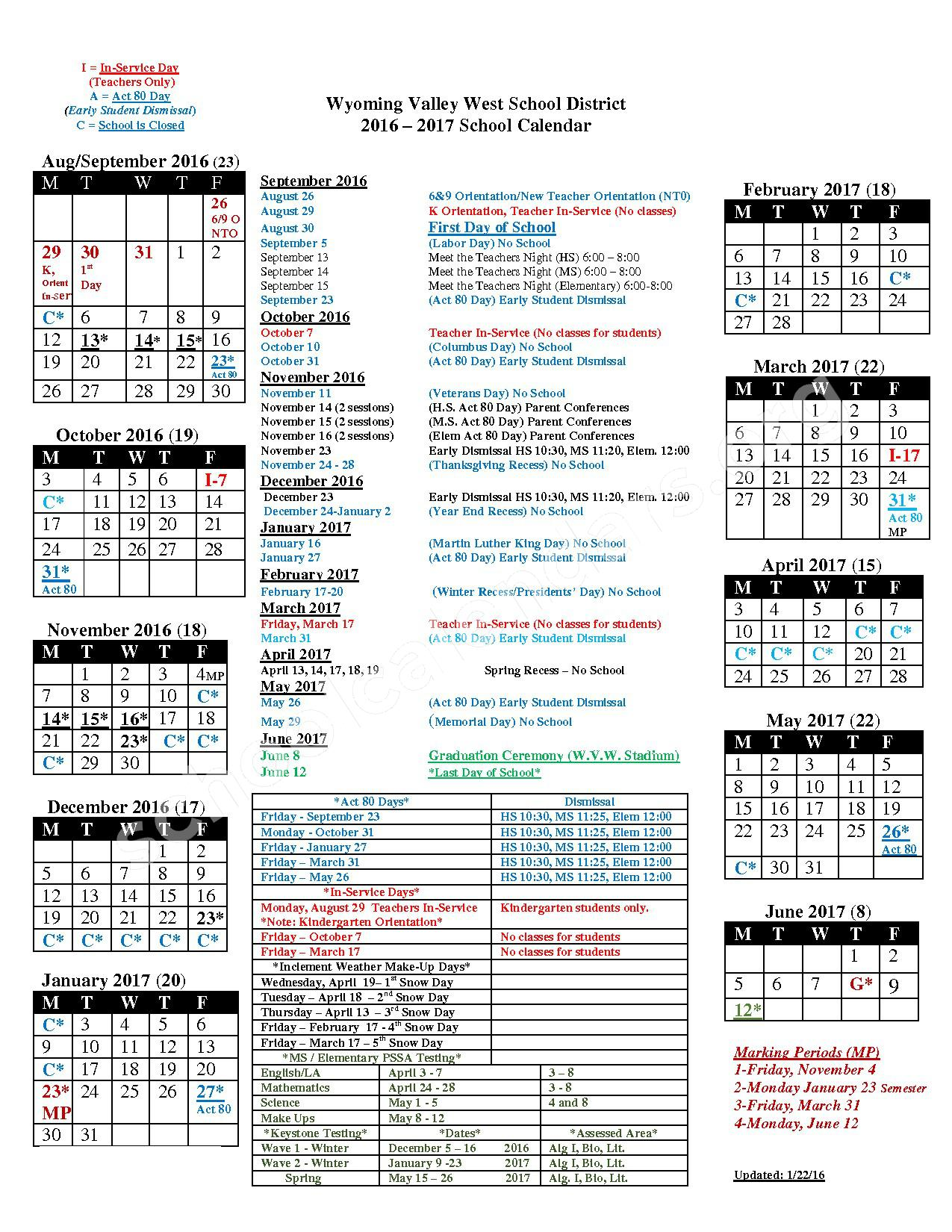 2016 - 2017  District Calendar – Wyoming Valley West School District – page 1