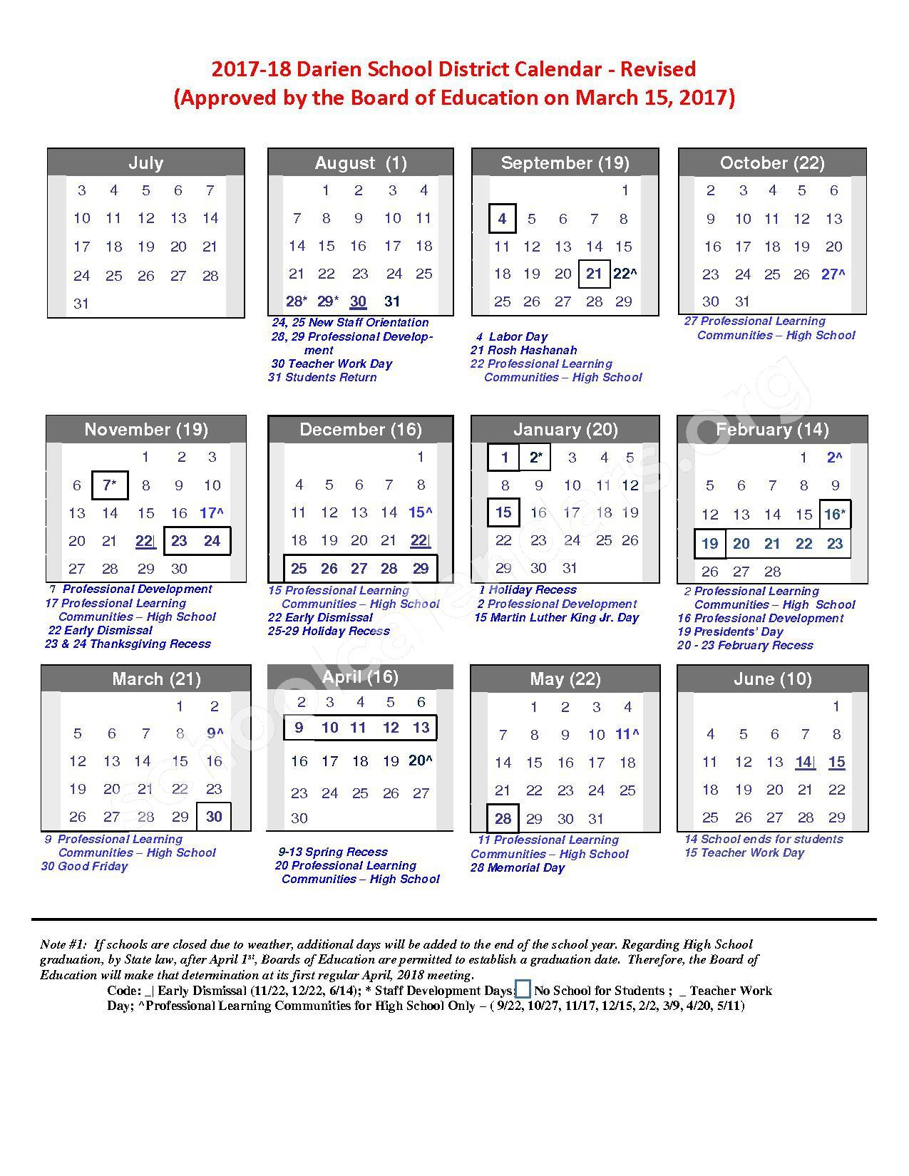 2017 - 2018 School Calendar – Darien Public Schools – page 1
