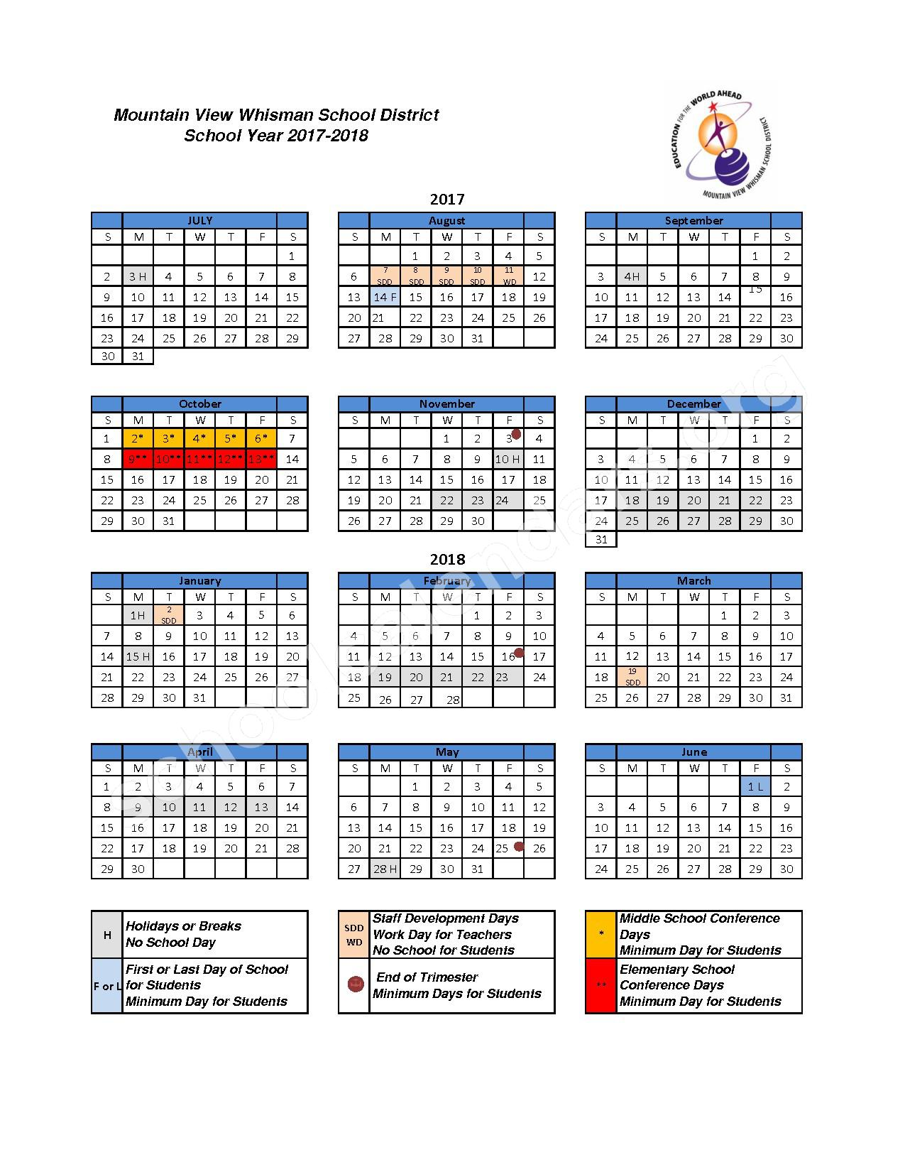 2017 - 2018 District Calendar – Mvwsd Home & Hospital – page 1