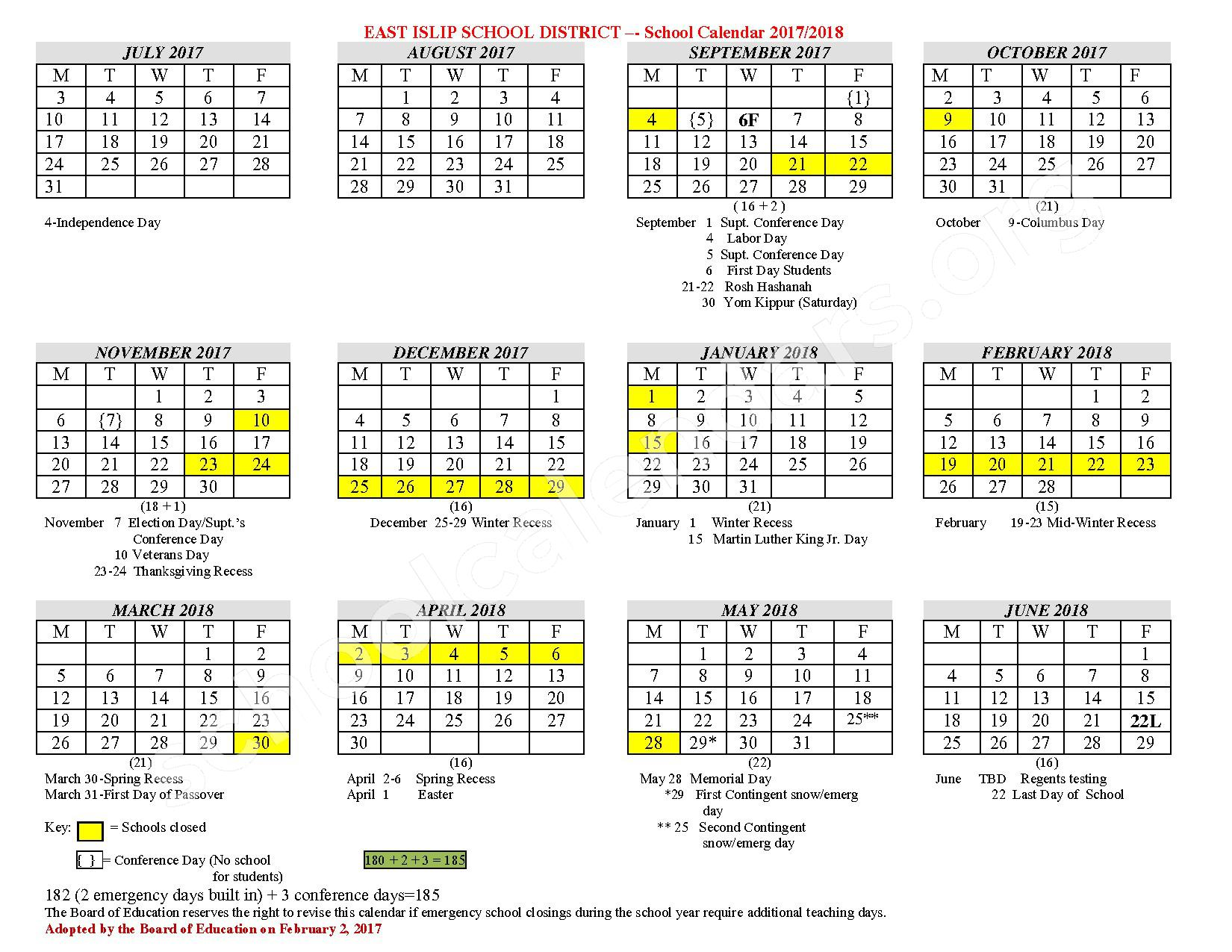 2017 - 2018 District Calendar – East Islip Union Free School District – page 1