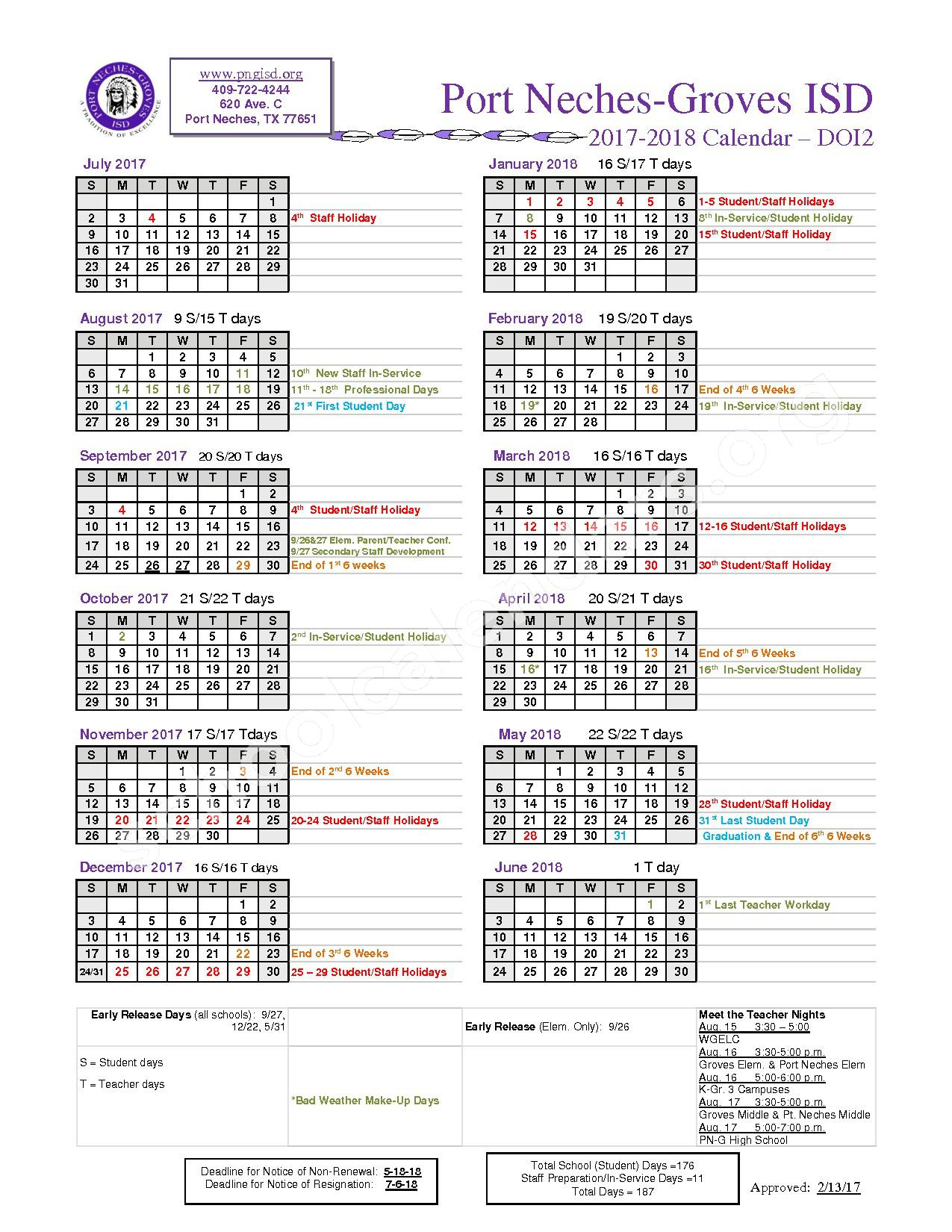 2017 - 2018 Calendar – Port Neches-Groves Independent School District – page 1