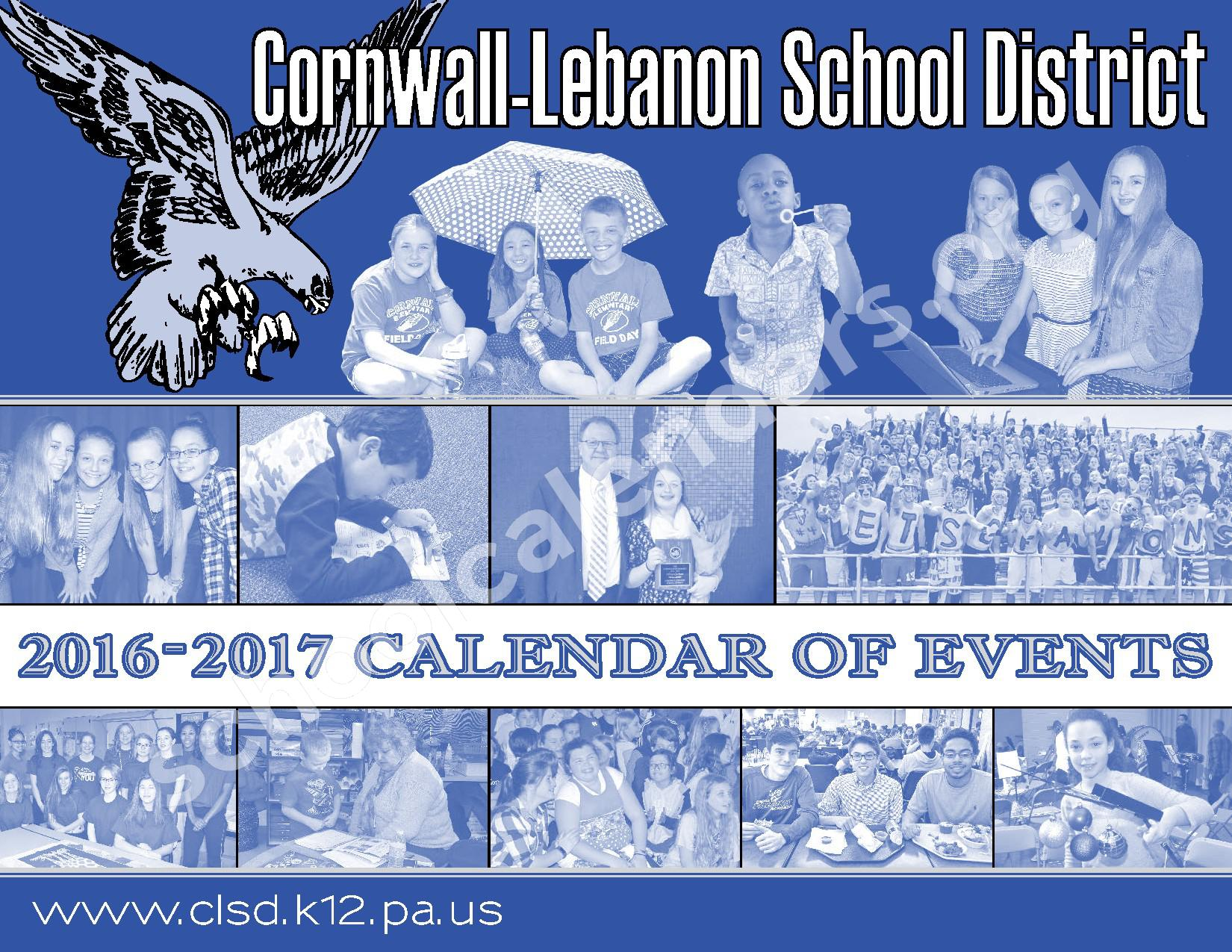 2016 - 2017  District Calendar – Cornwall-Lebanon School District – page 1