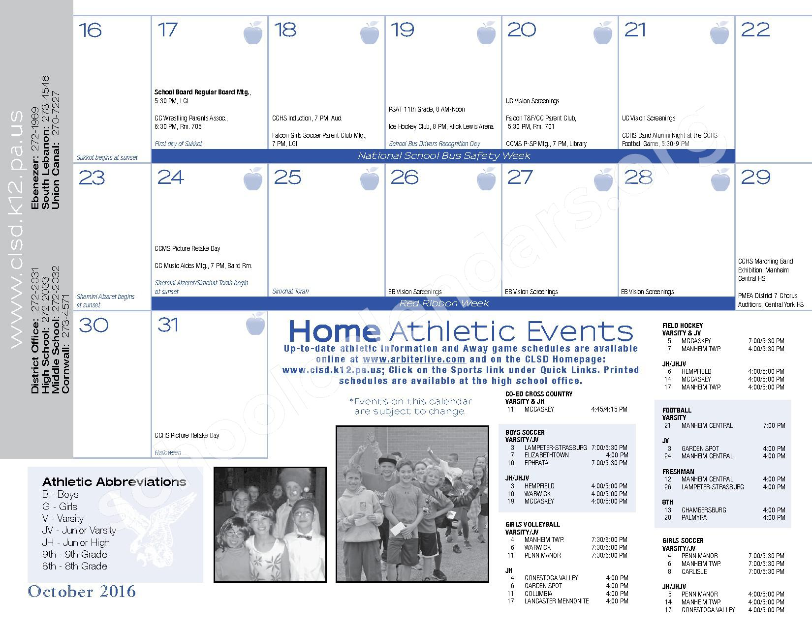 2016 - 2017  District Calendar – Cornwall-Lebanon School District – page 17