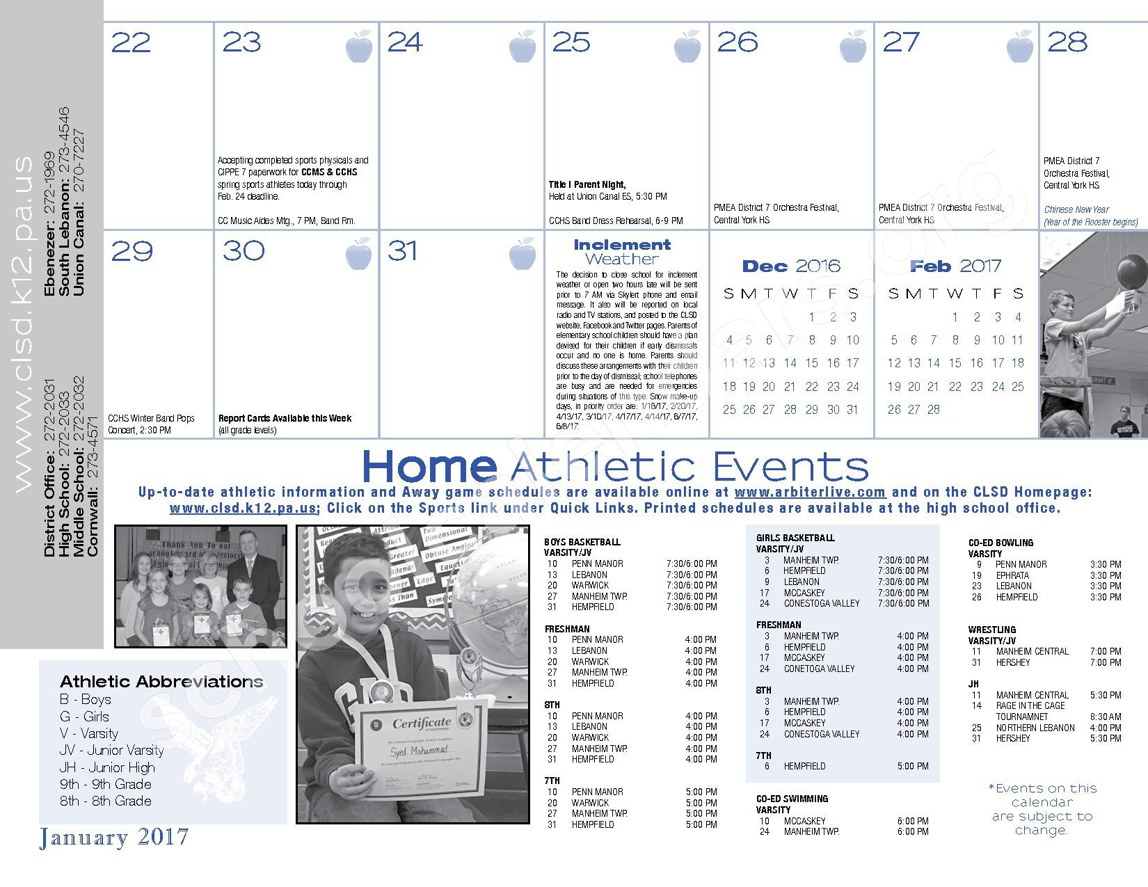 2016 - 2017  District Calendar – Cornwall-Lebanon School District – page 23