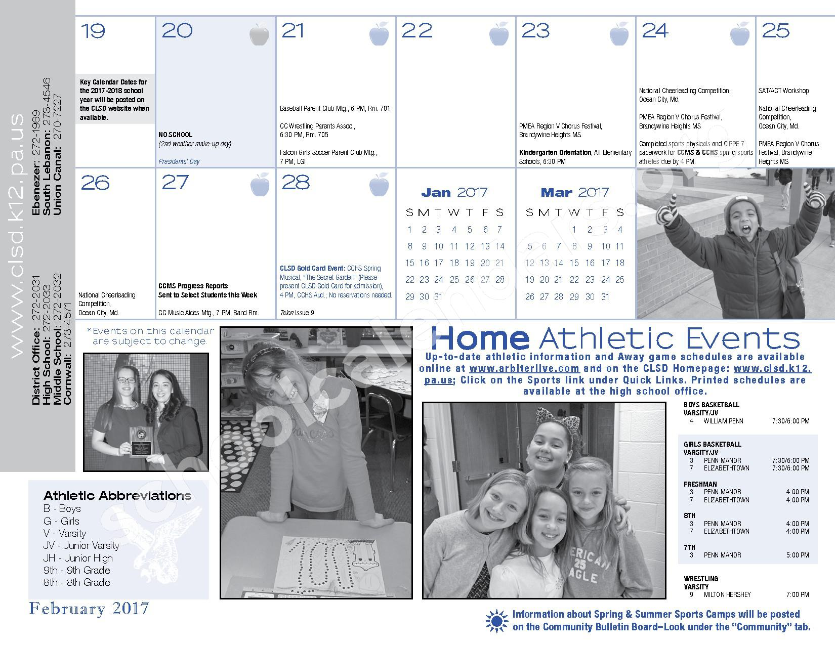 2016 - 2017  District Calendar – Cornwall-Lebanon School District – page 25