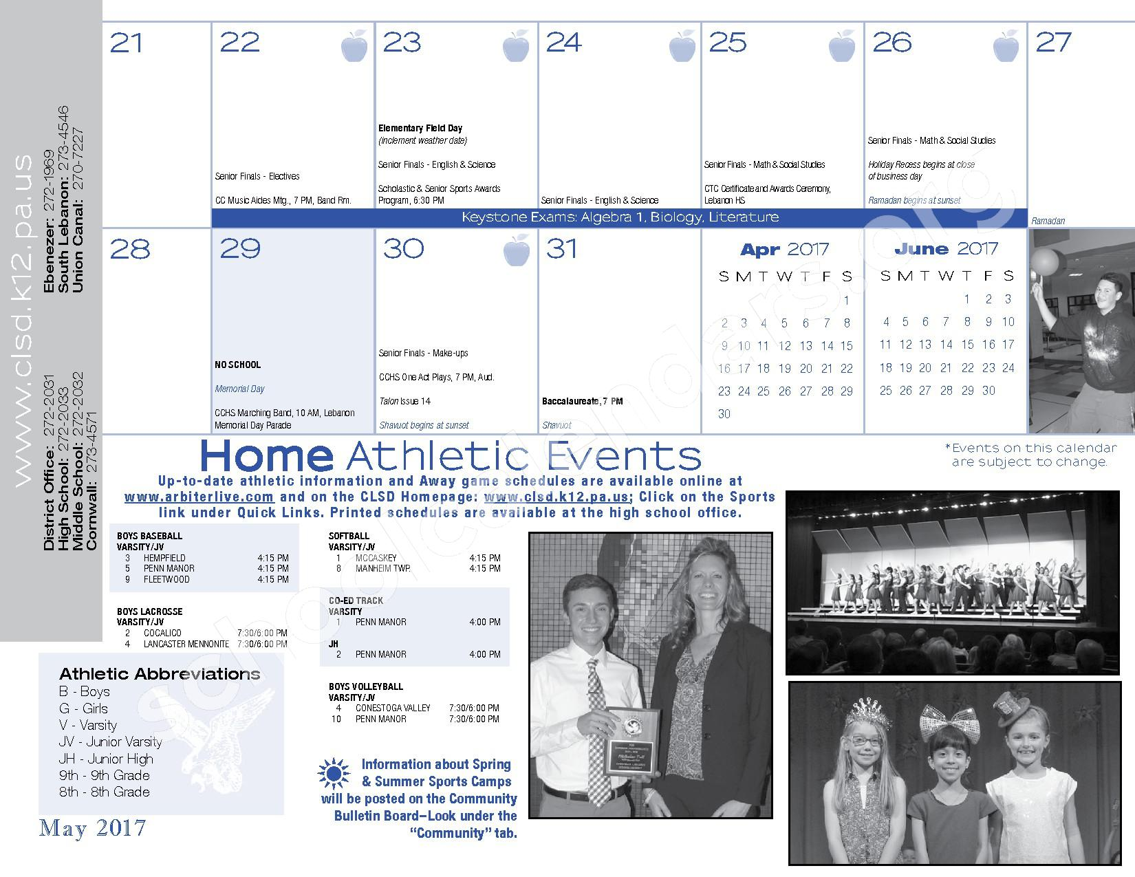 2016 - 2017  District Calendar – Cornwall-Lebanon School District – page 31