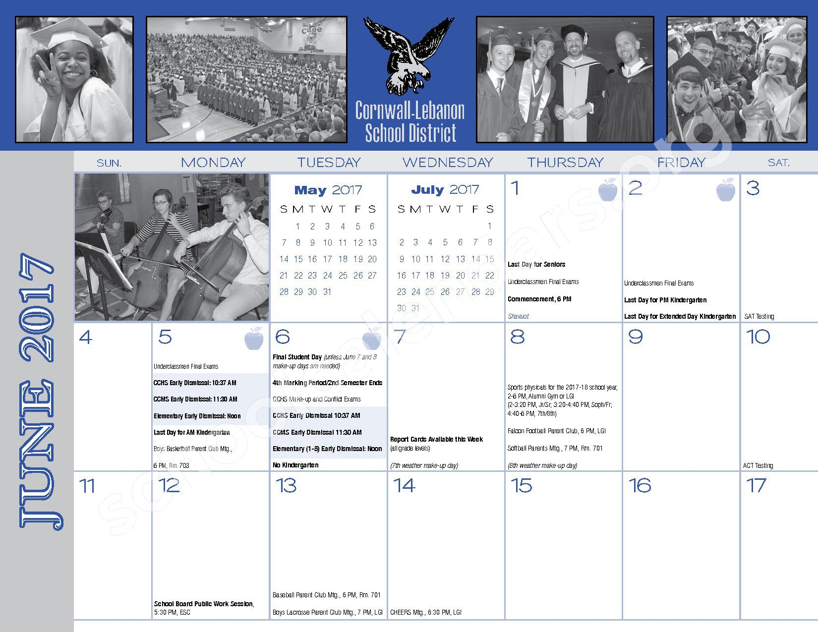 2016 - 2017  District Calendar – Cornwall-Lebanon School District – page 32