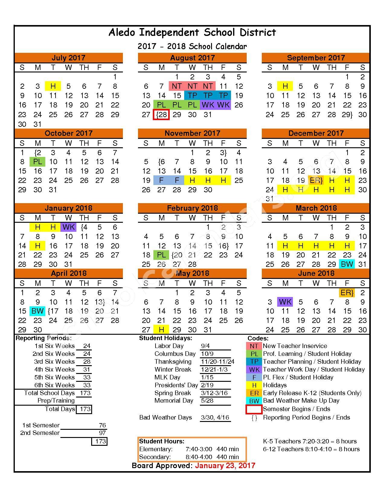 2017 - 2018 District Calendar – Aledo Independent School District – page 1