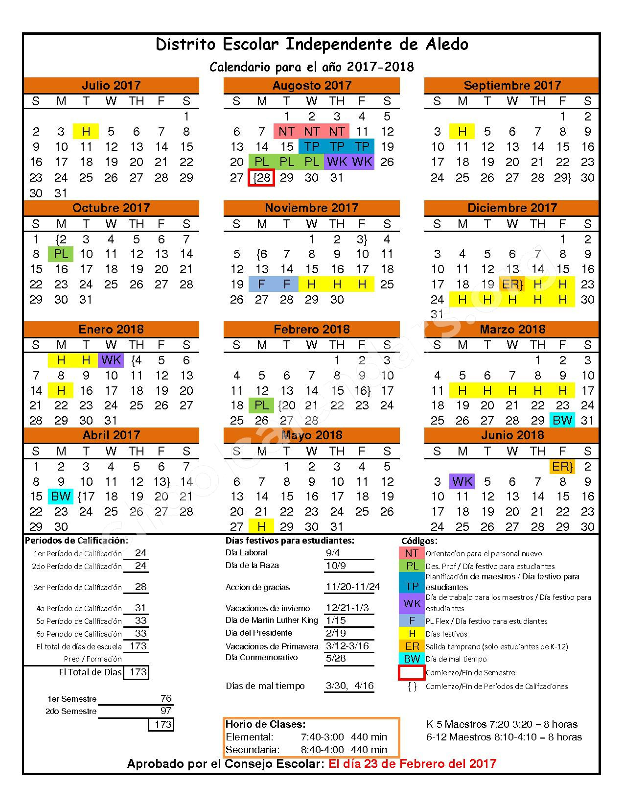 2017 - 2018 District Calendar – Aledo Independent School District – page 1