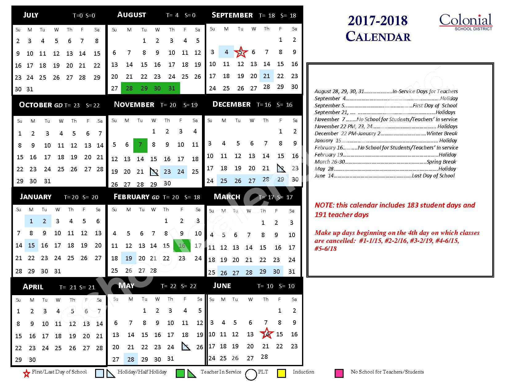 2017 - 2018 District Calendar – Conshohocken Elementary School – page 1