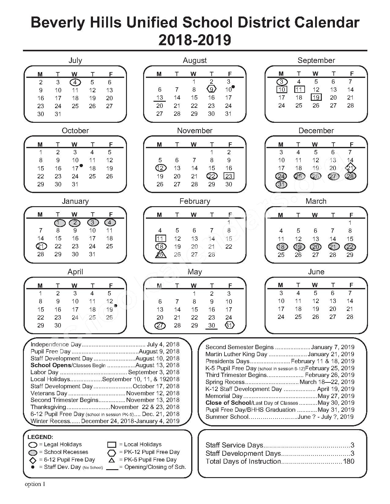 2018 - 2019 School Calendar – Beverly Hills Unified School District – page 1