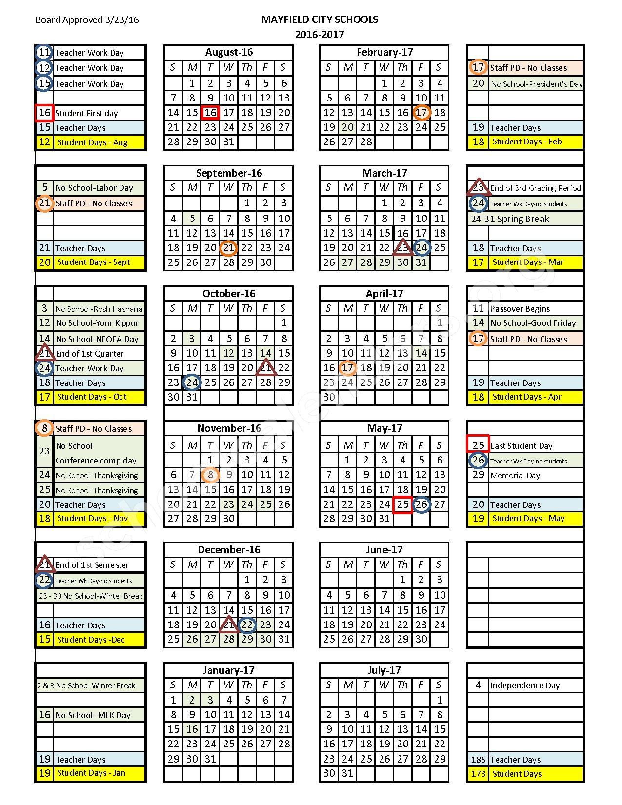 2016 - 2017 Calendar – Lander Elementary School – page 1