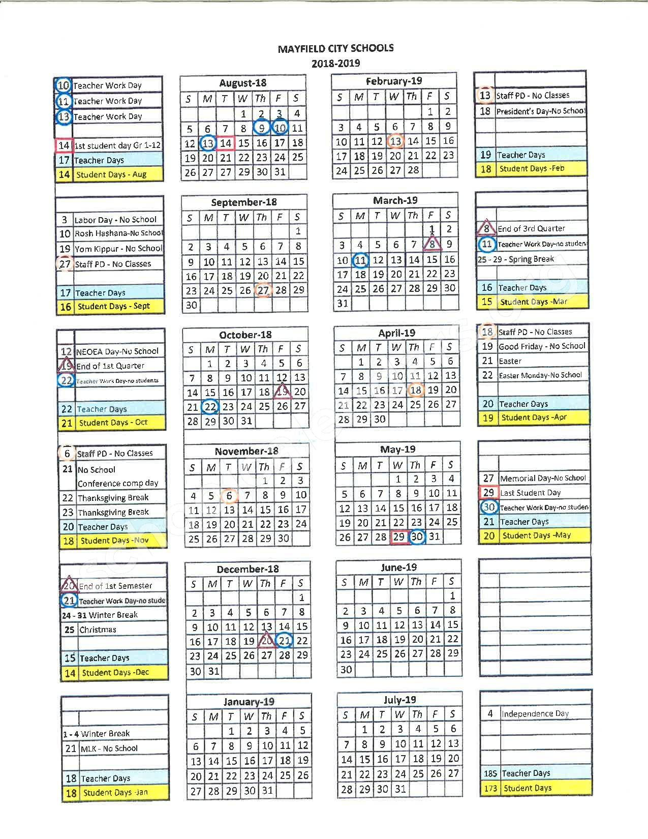 2018 - 2019 District Calendar – Mayfield High School – page 1