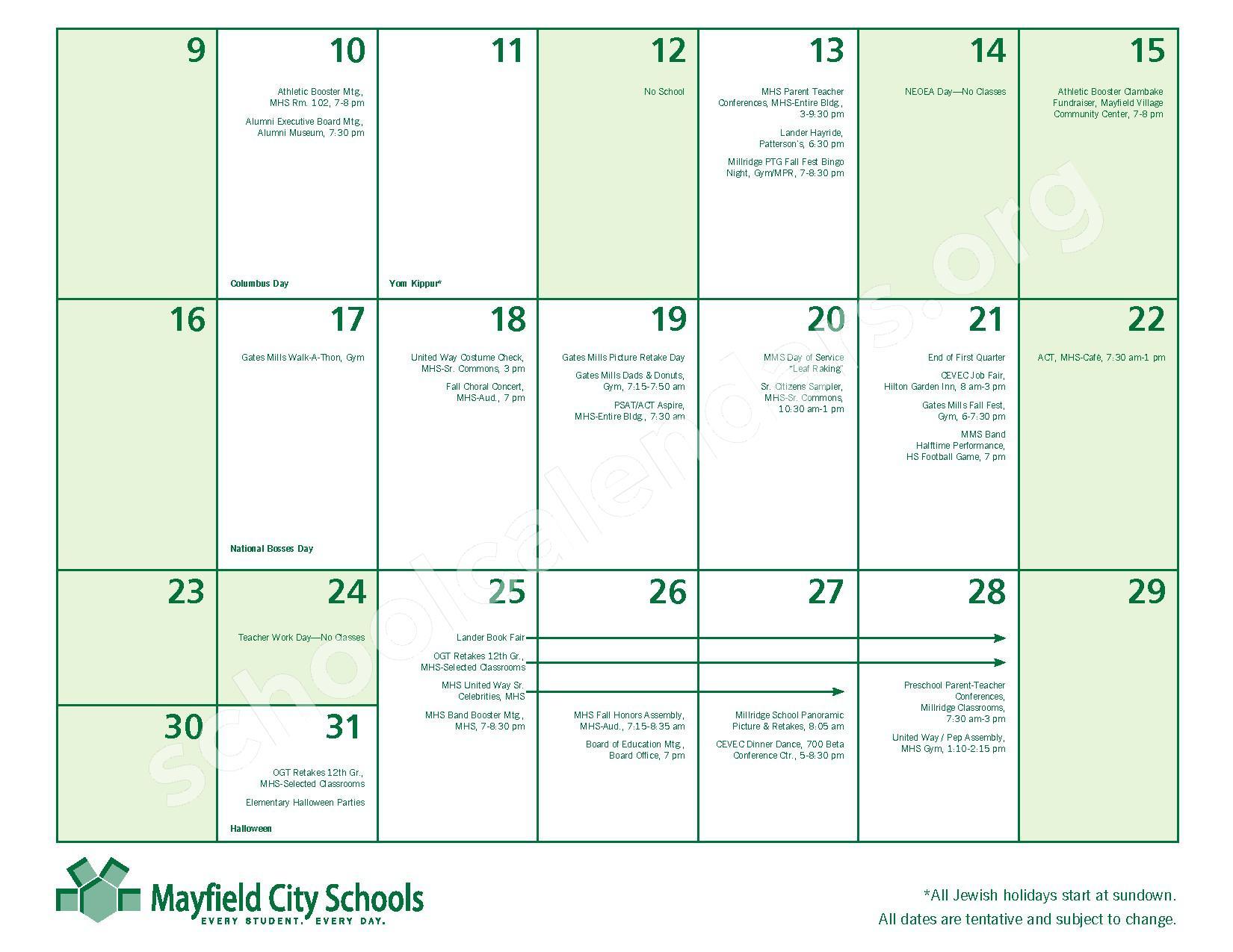 2016 - 2017 Mayfield Activities Calendar – Mayfield City Schools – page 11