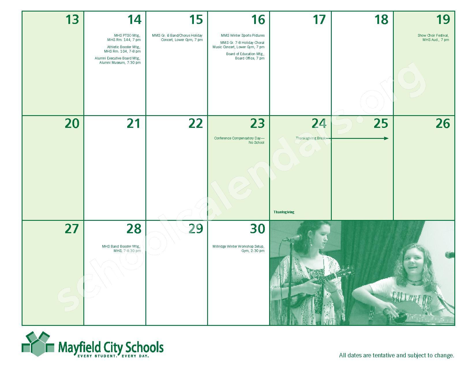 2016 - 2017 Mayfield Activities Calendar – Mayfield City Schools – page 13