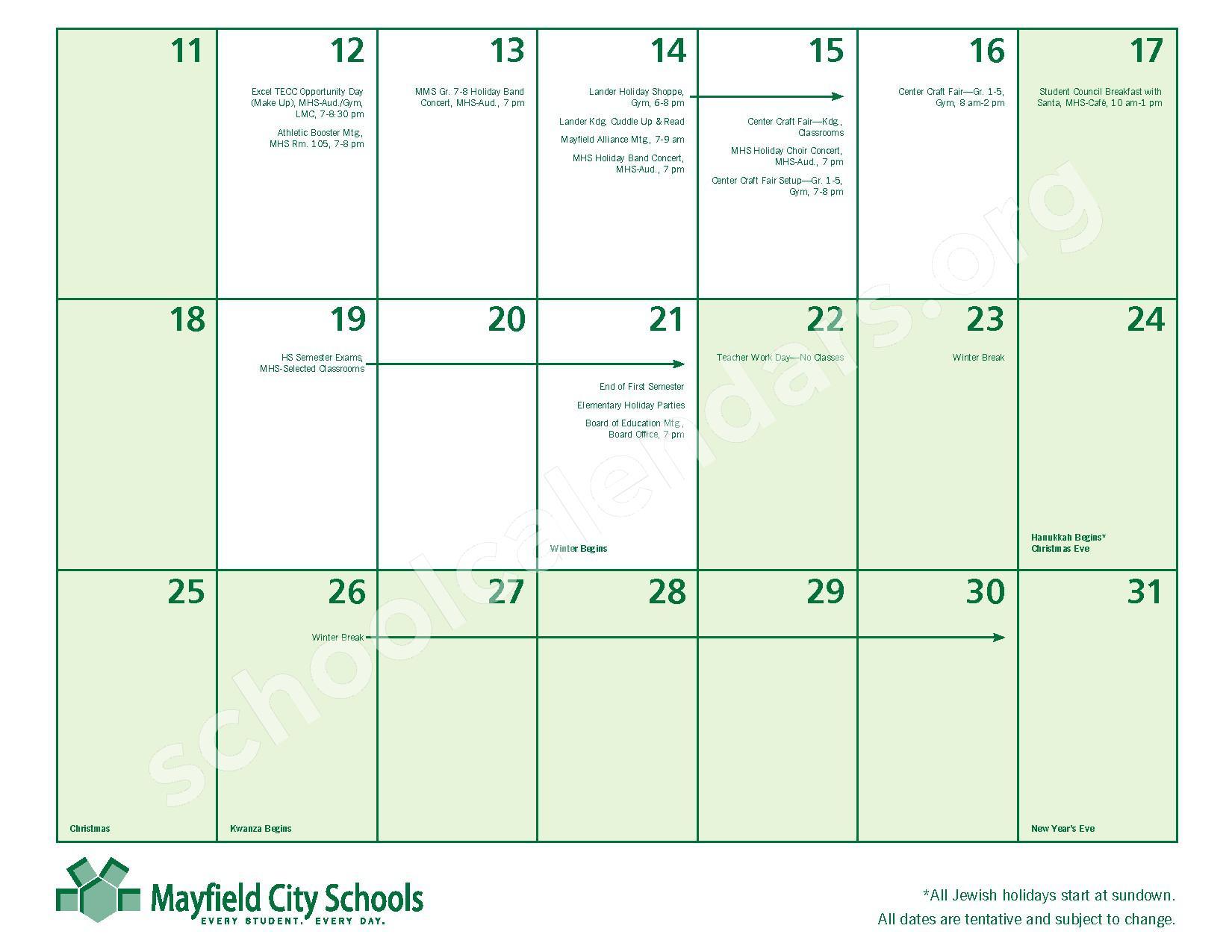 2016 - 2017 Mayfield Activities Calendar – Mayfield City Schools – page 15