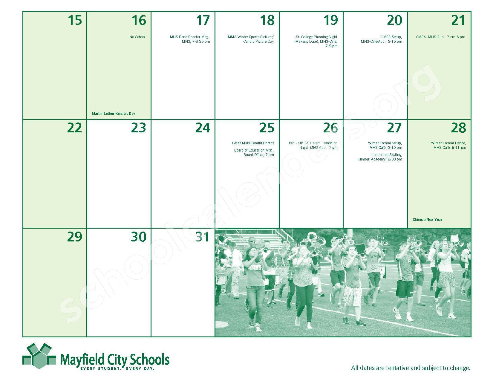2016 - 2017 Mayfield Activities Calendar – Mayfield City Schools – page 17
