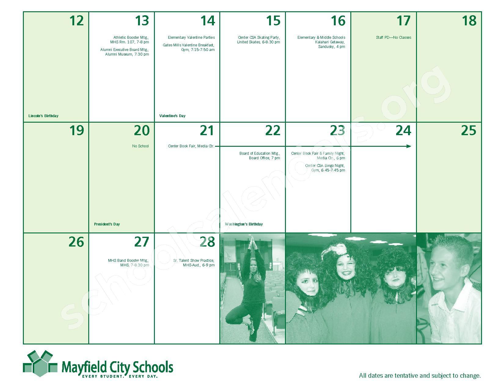 2016 - 2017 Mayfield Activities Calendar – Mayfield City Schools – page 19