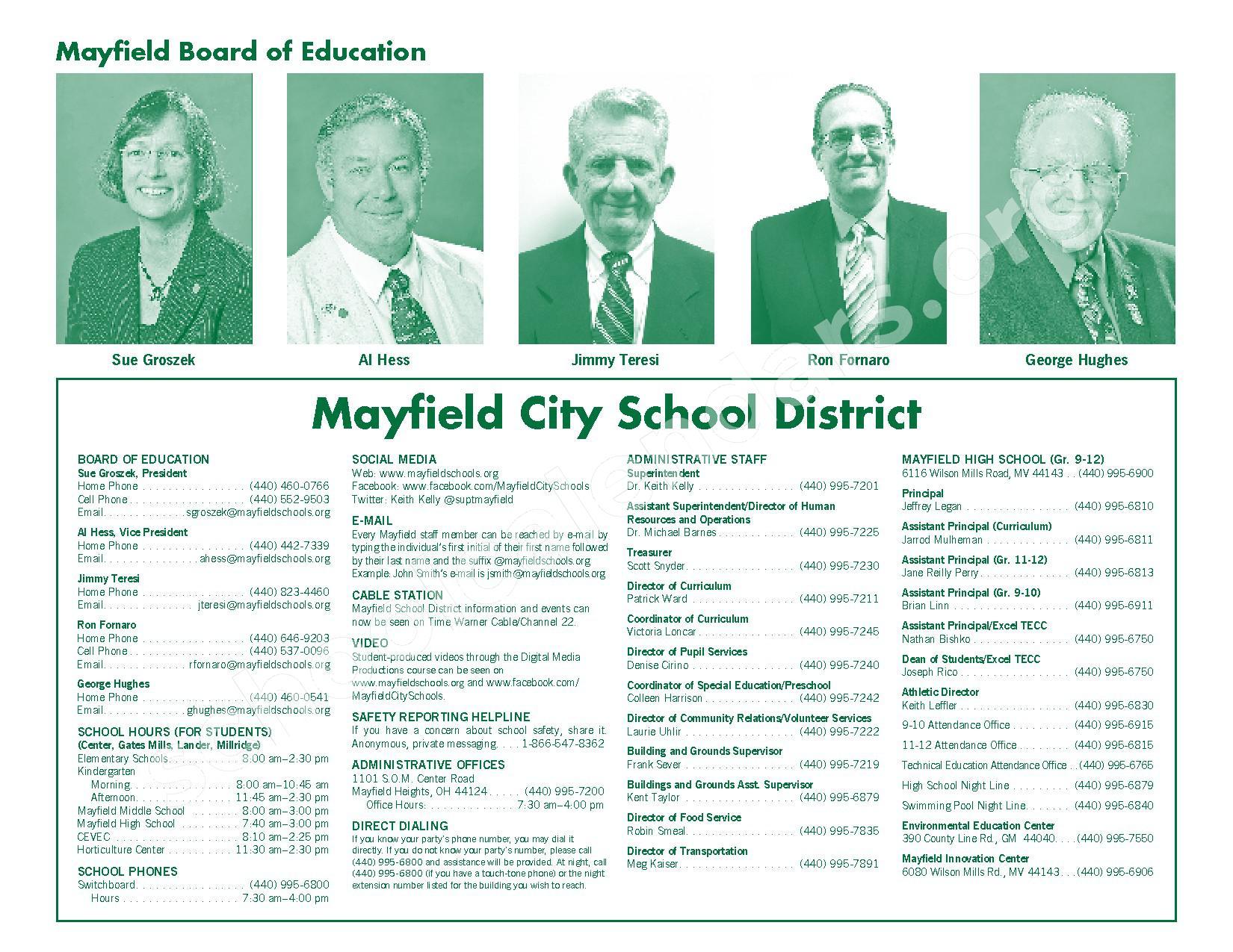 2016 - 2017 Mayfield Activities Calendar – Mayfield City Schools – page 2