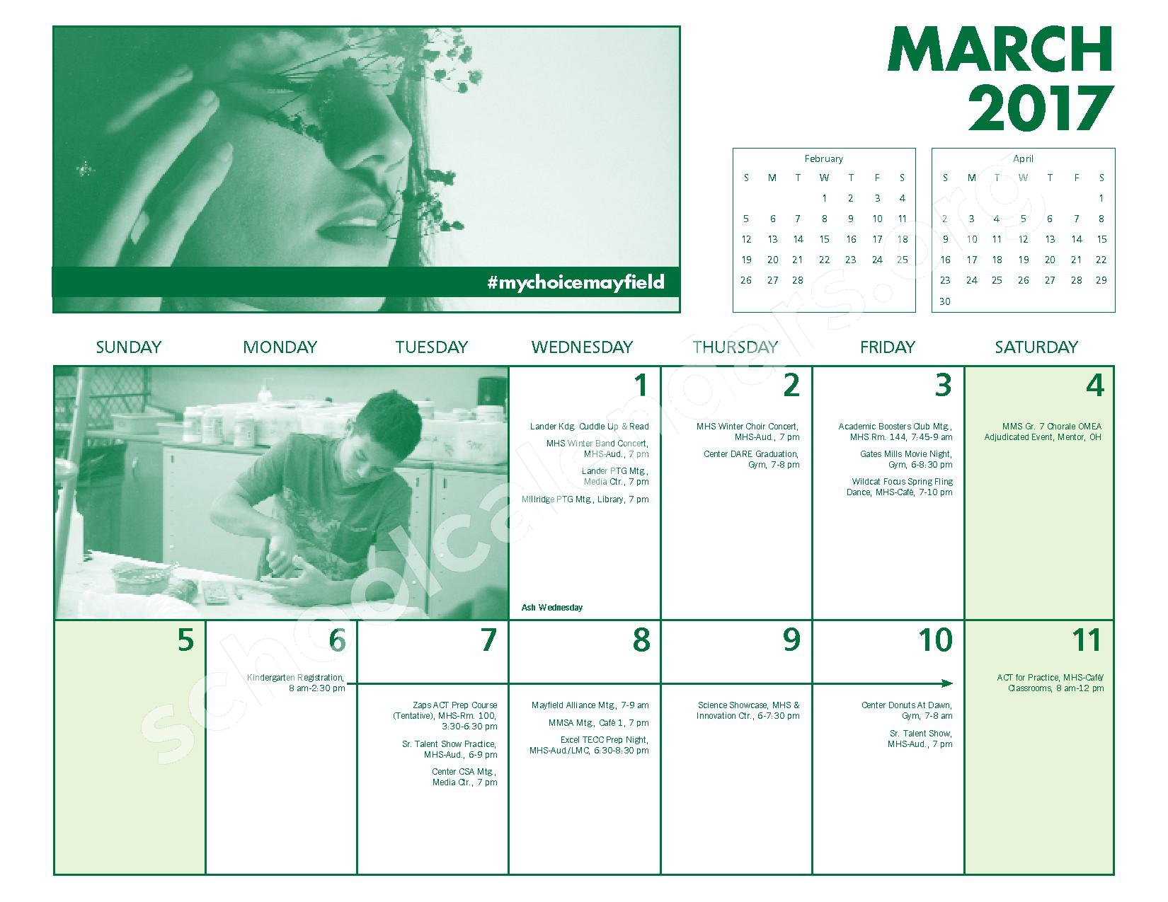 2016 - 2017 Mayfield Activities Calendar – Mayfield City Schools – page 20