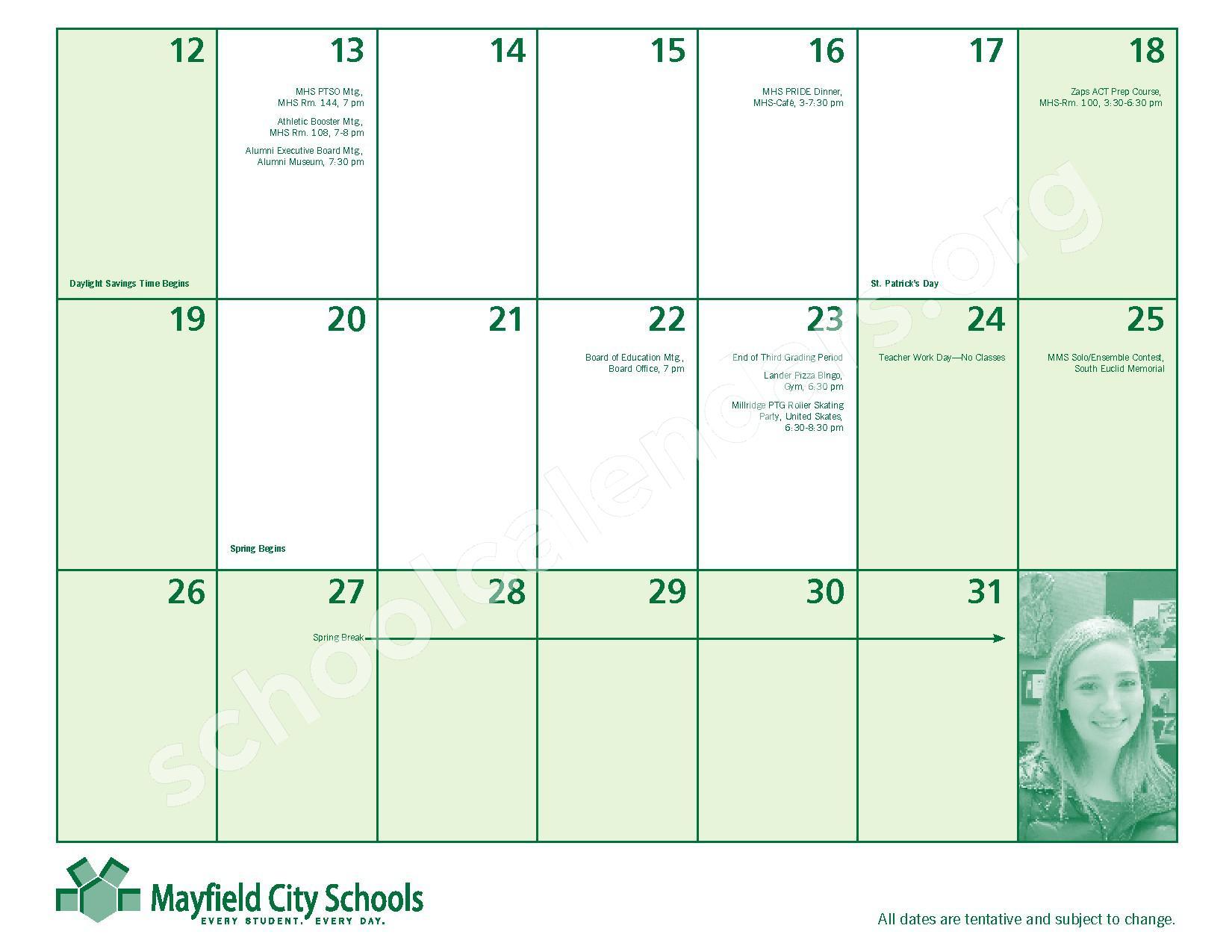 2016 - 2017 Mayfield Activities Calendar – Mayfield City Schools – page 21