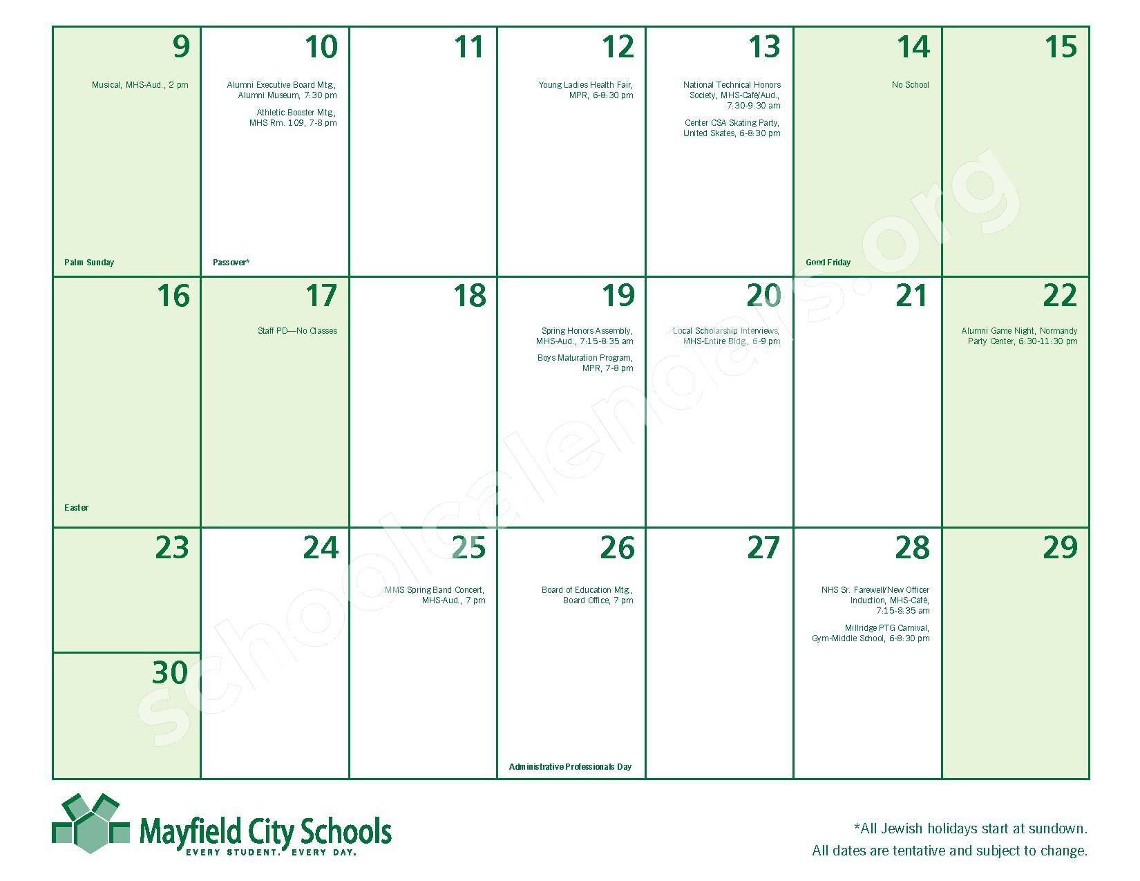 2016 - 2017 Mayfield Activities Calendar – Mayfield City Schools – page 23