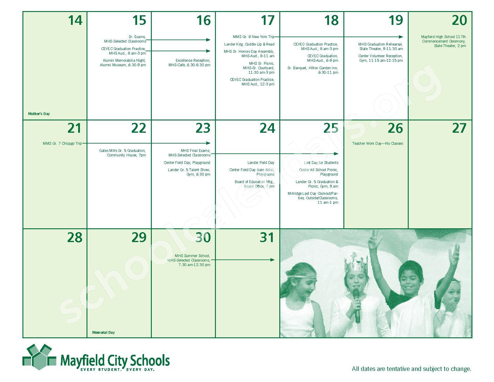 2016 - 2017 Mayfield Activities Calendar – Mayfield City Schools – page 25