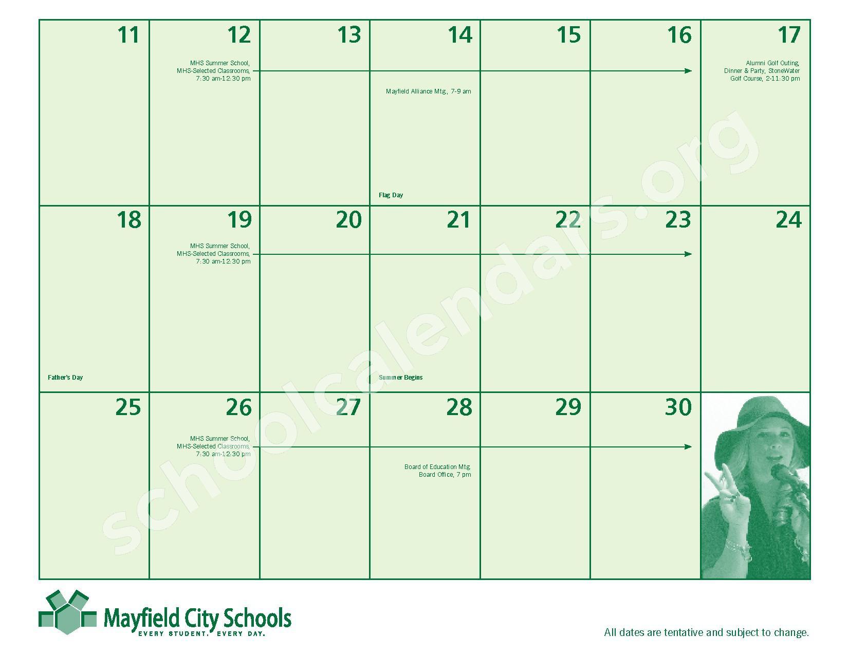 2016 - 2017 Mayfield Activities Calendar – Mayfield City Schools – page 27
