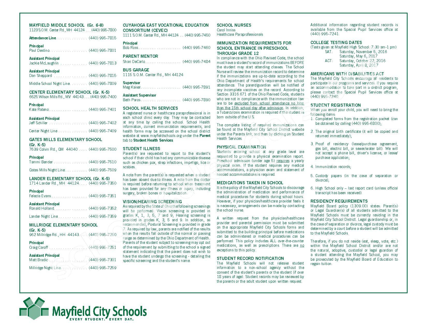 2016 - 2017 Mayfield Activities Calendar – Mayfield City Schools – page 3