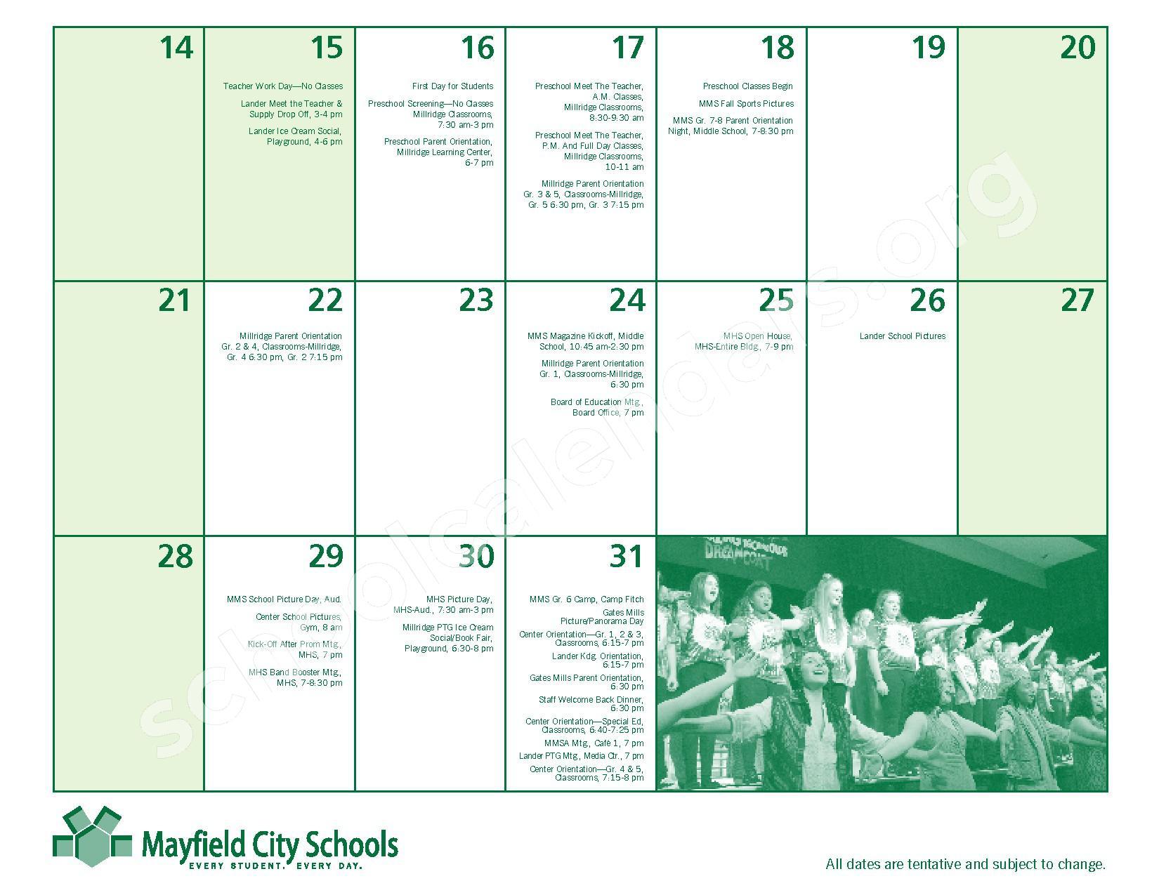 2016 - 2017 Mayfield Activities Calendar – Mayfield City Schools – page 7