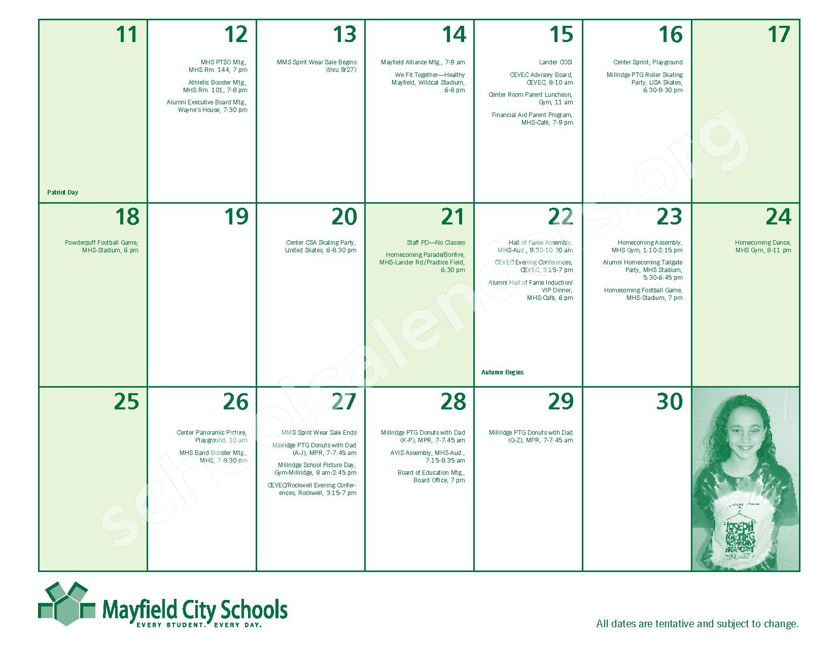 2016 - 2017 Mayfield Activities Calendar – Mayfield City Schools – page 9