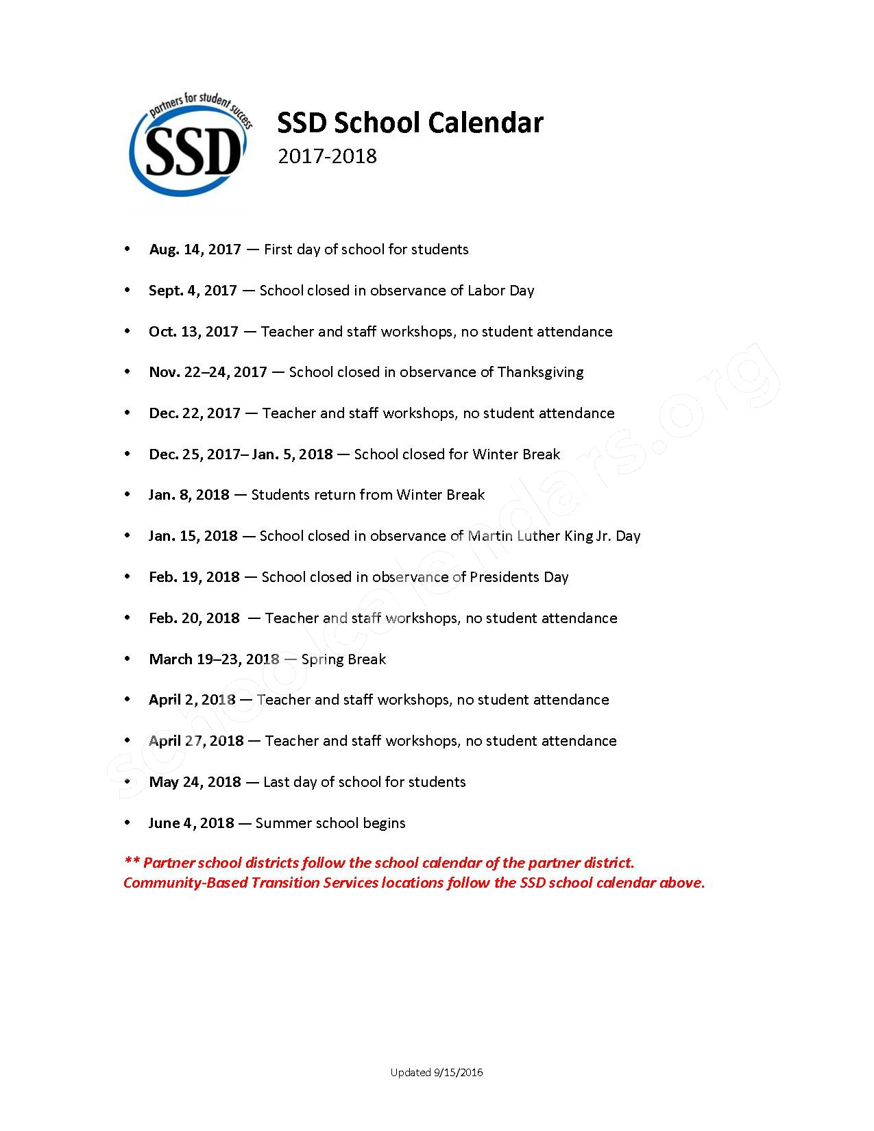 2017 - 2018 District Calendar – Special School District of St. Louis County – page 1