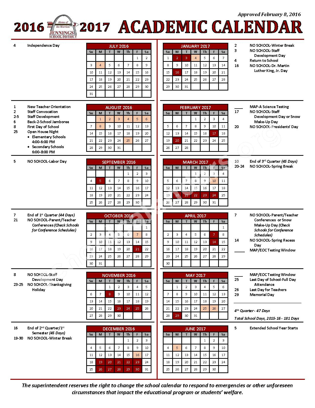 2016 - 2017 Academic Calendar – Special School District of St. Louis County – page 1