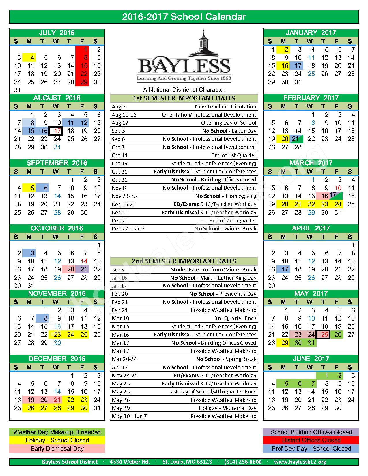 2016 - 2017  District Calendar – Special School District of St. Louis County – page 1