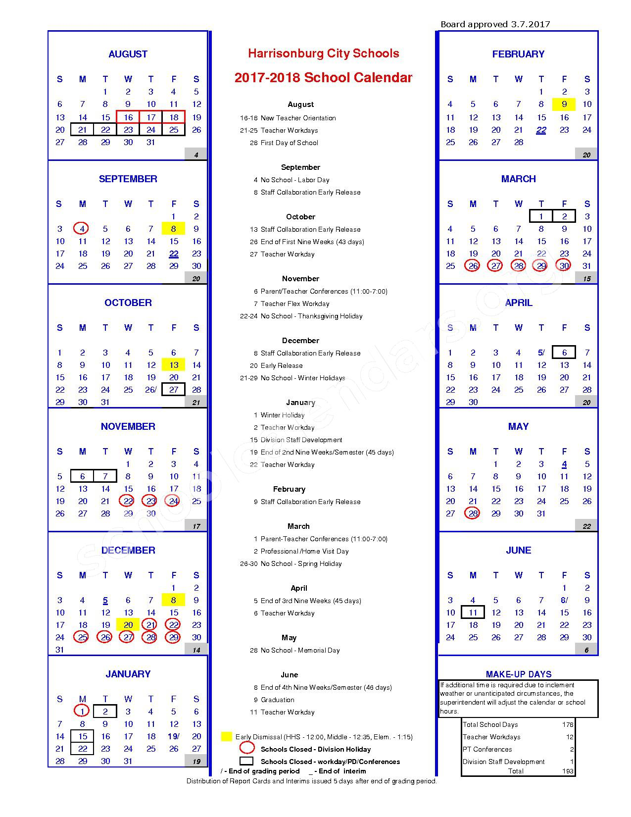 2017 - 2018 District Calendar – Harrisonburg Public Schools – page 1