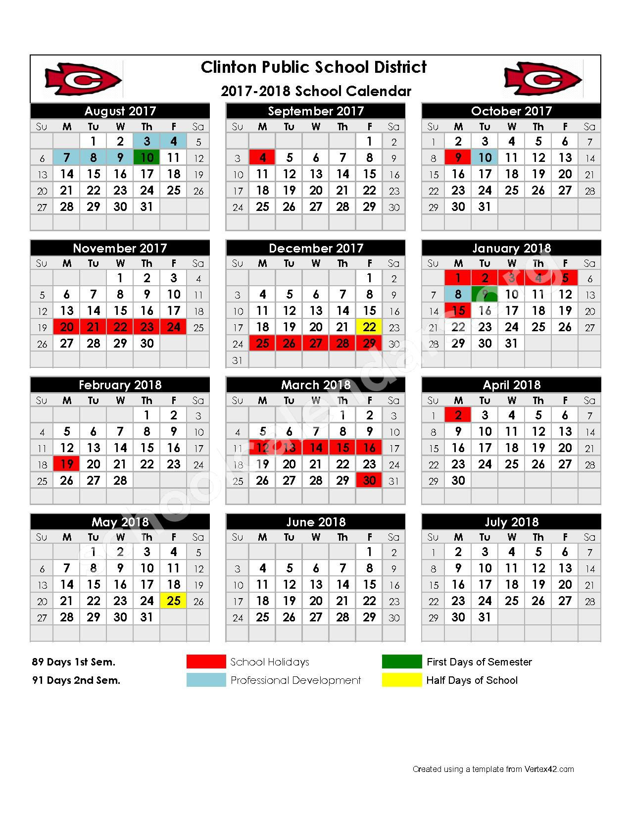 2017 - 2018 School Calendar – Clinton Alternative School – page 1