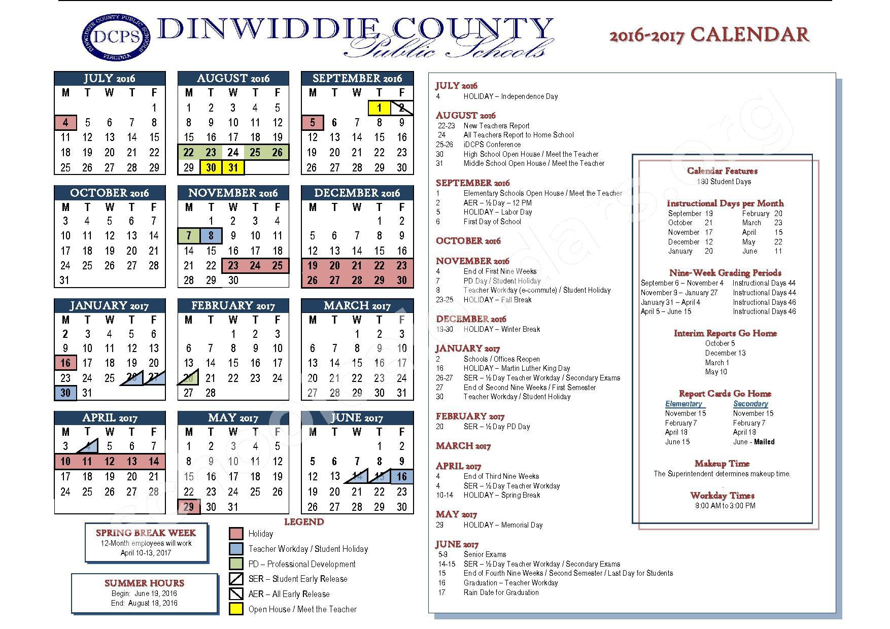 2016 - 2017 School Calendar – Dinwiddie County Public Schools – page 1