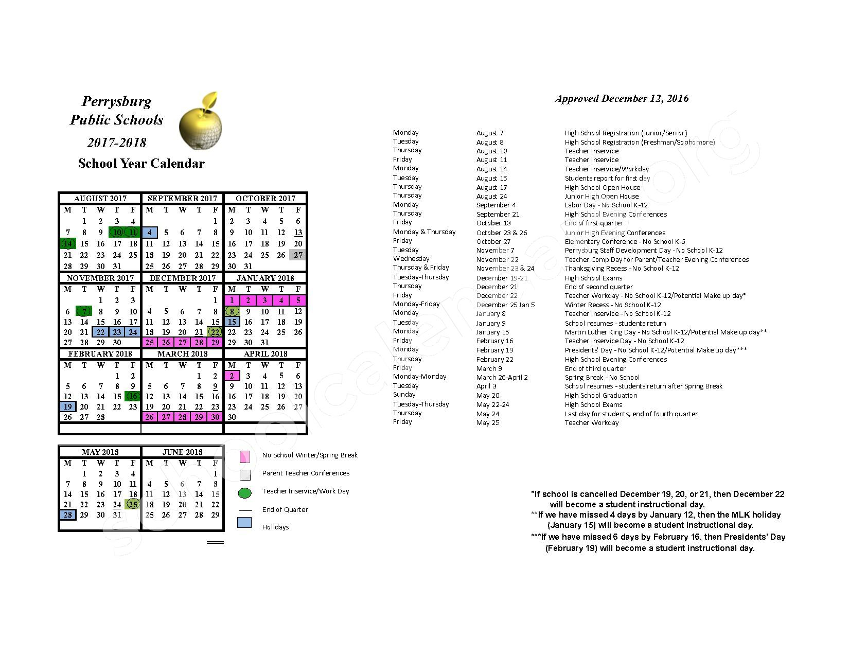 2017 - 2018 District Calendar – Perrysburg Junior High School – page 1